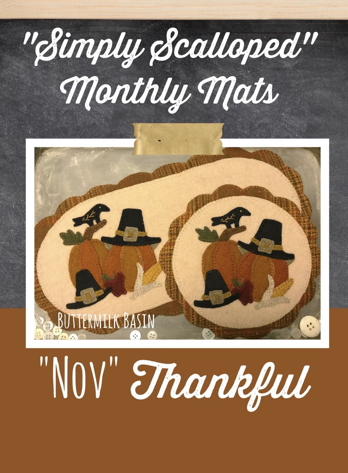 Simply Scalloped Mats Thru the Year - November Pattern & Kit for both Oval Mat & Round Mat