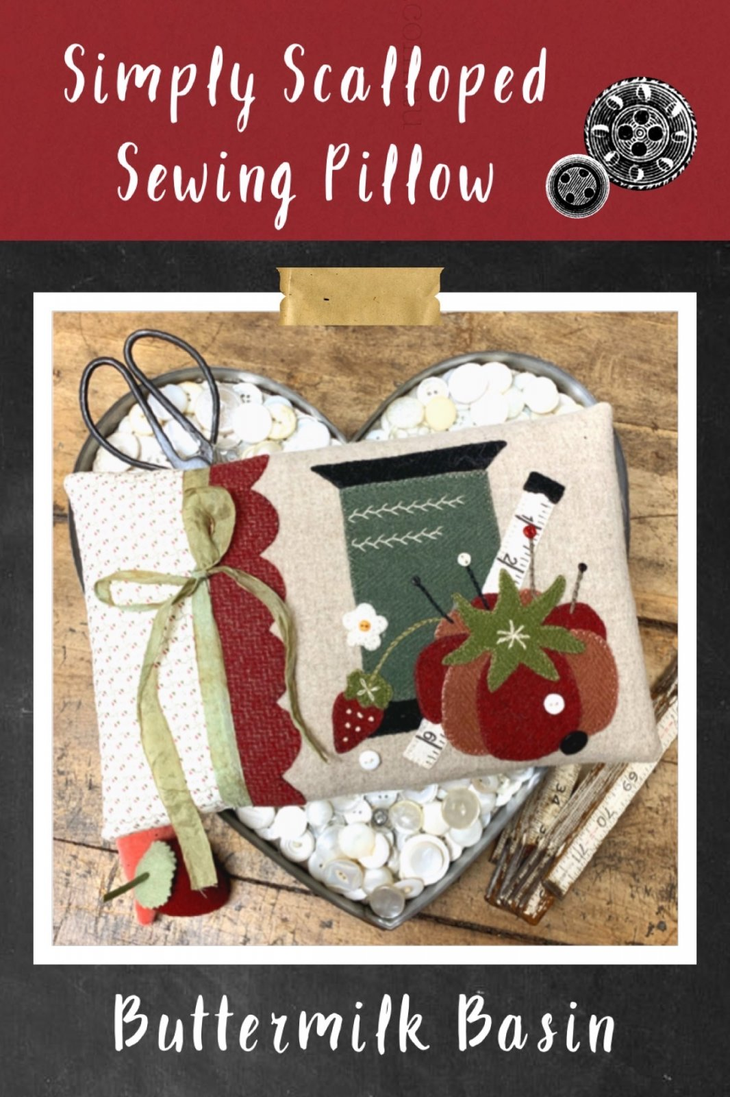 Simple Scalloped Sewing Pillow * KIT & Pattern