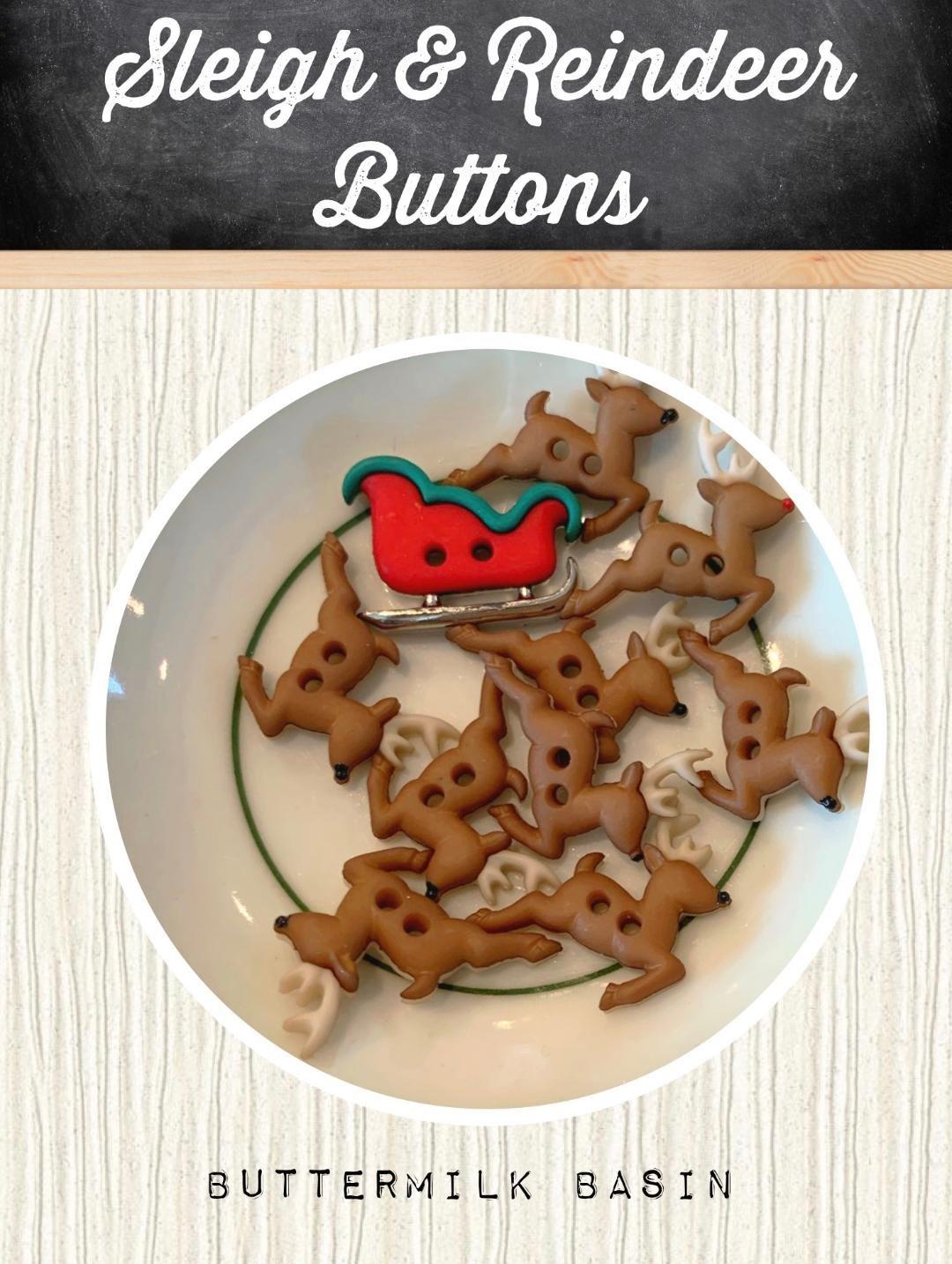 Sleigh & Reindeer Button