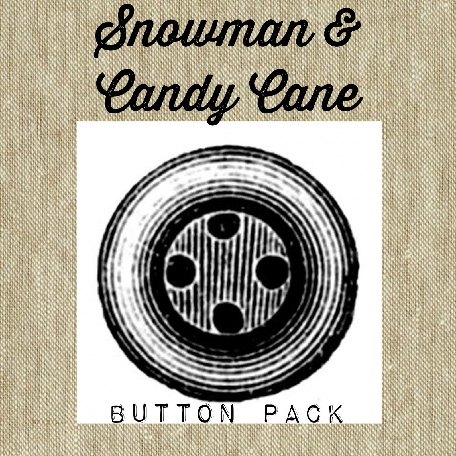 Snowman and Candy Cane * Button Pack