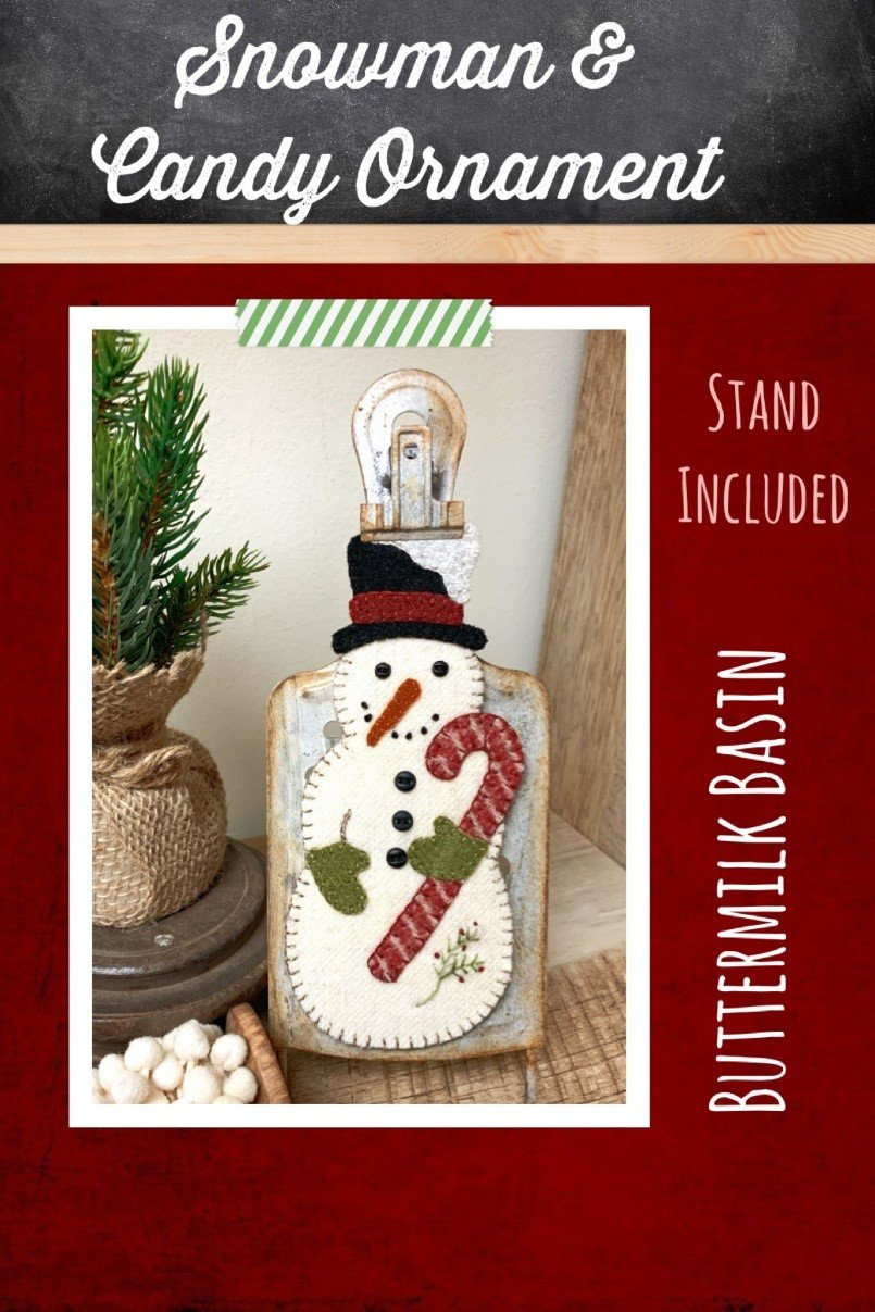 Snowman & Candy Cane Ornament *Kit, Pattern & Stand
