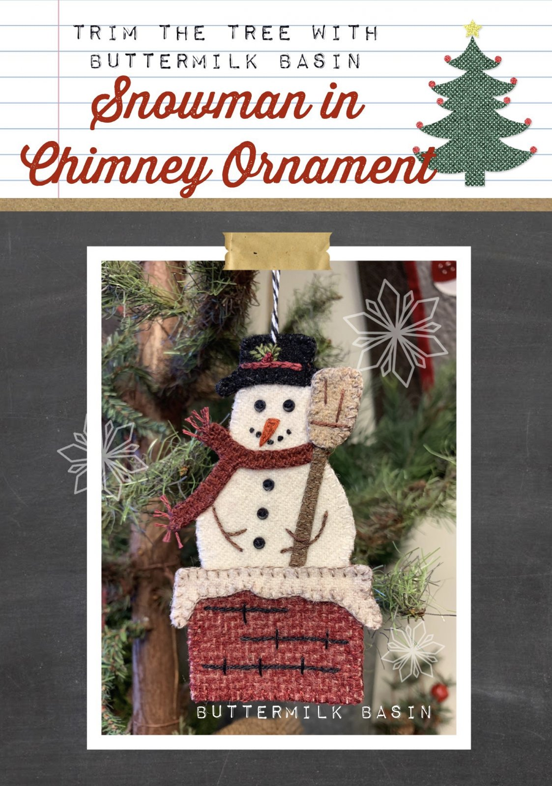 Snowman in Chimney Ornament * Pattern & Kit