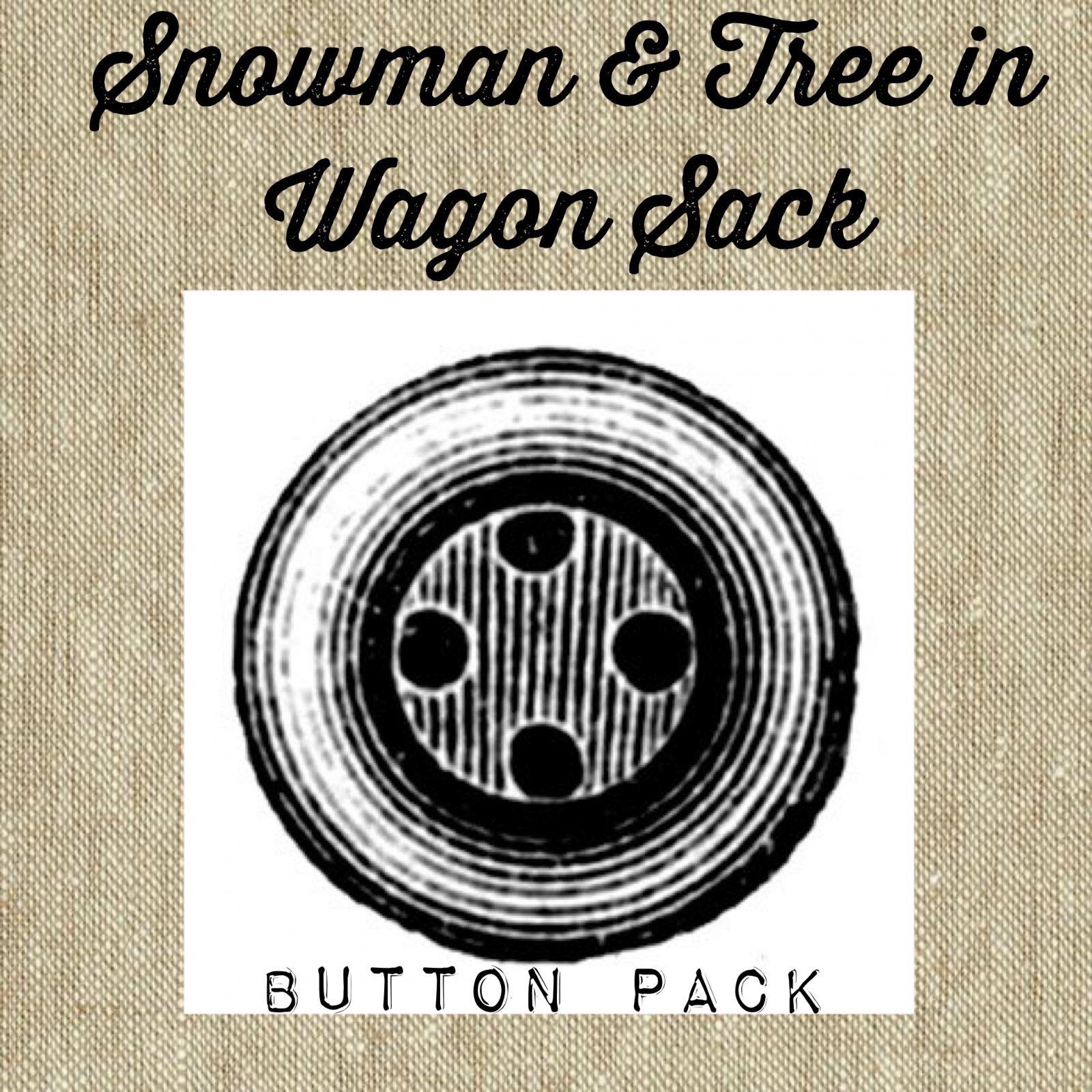 Snowman & Tree in Wagon Sack Button Pack