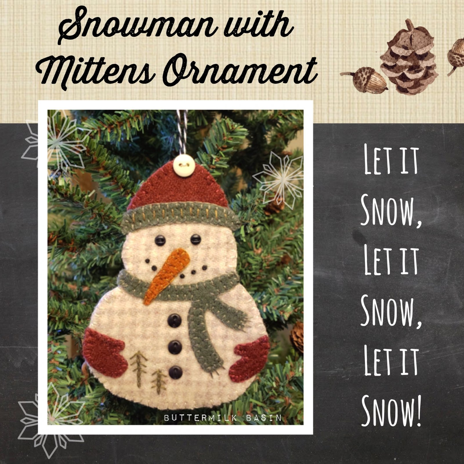 Snowman With Mittens Ornament *Kit & Pattern