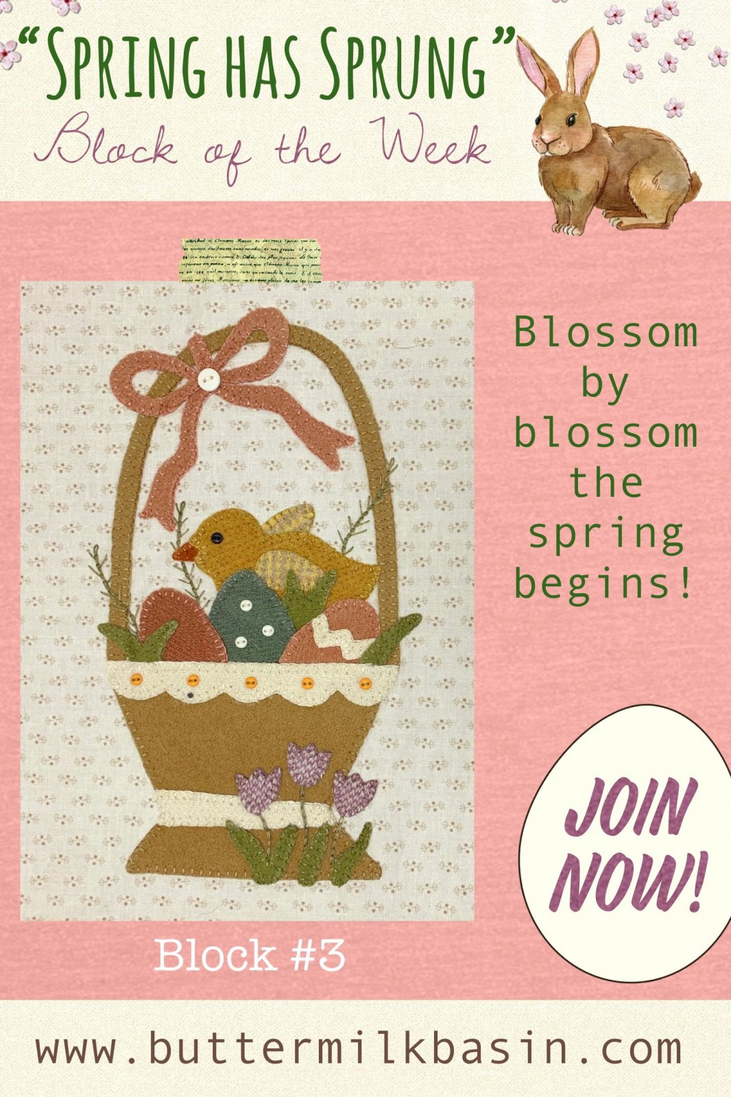 Spring Has Sprung Block #3 * Pattern & Kit