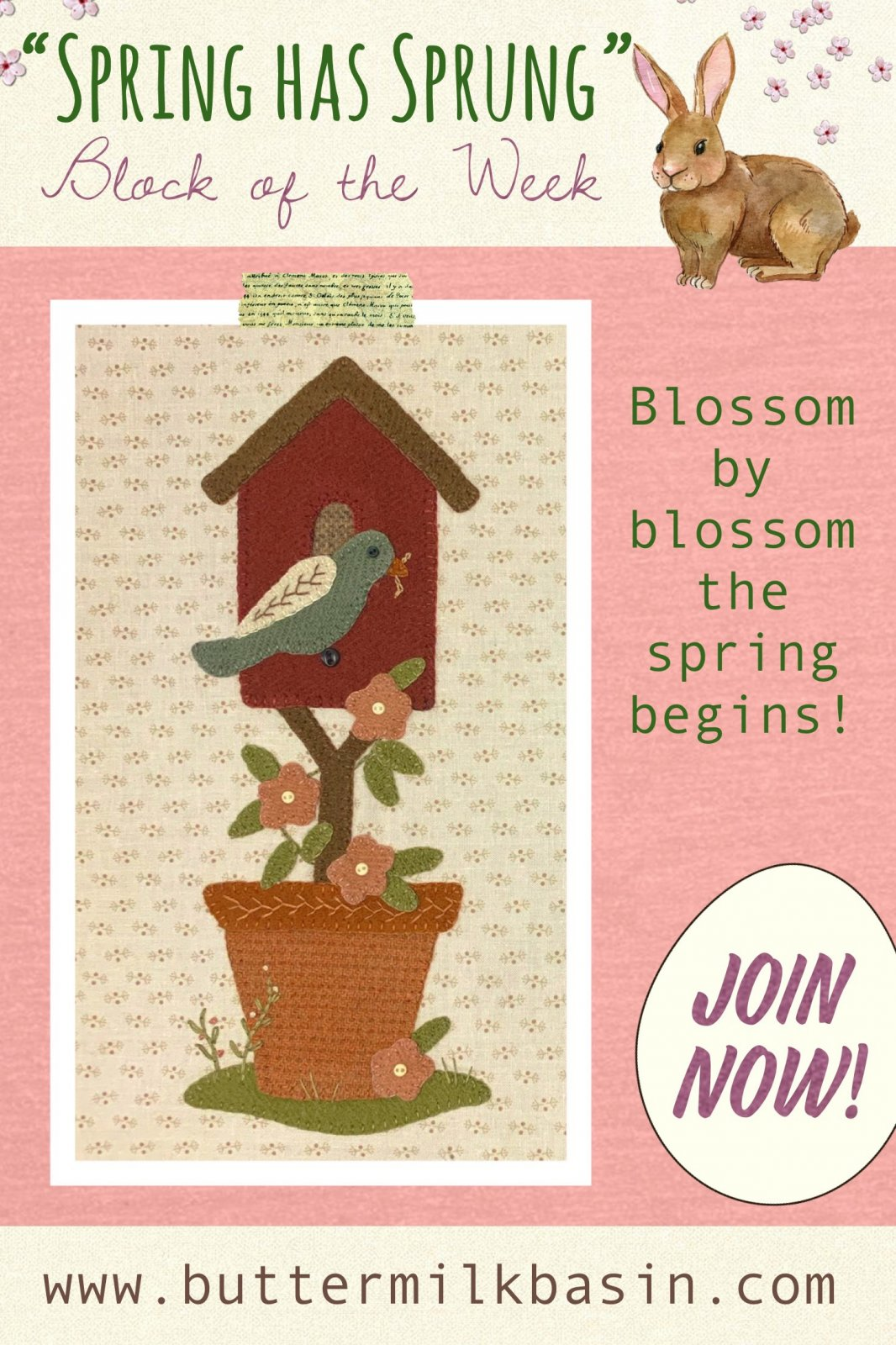Spring Has Sprung Block #2 * Pattern & Kit