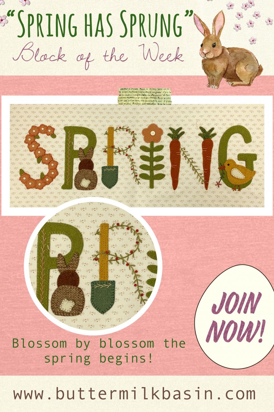 Spring Has Sprung Block #1 * Pattern & Kit