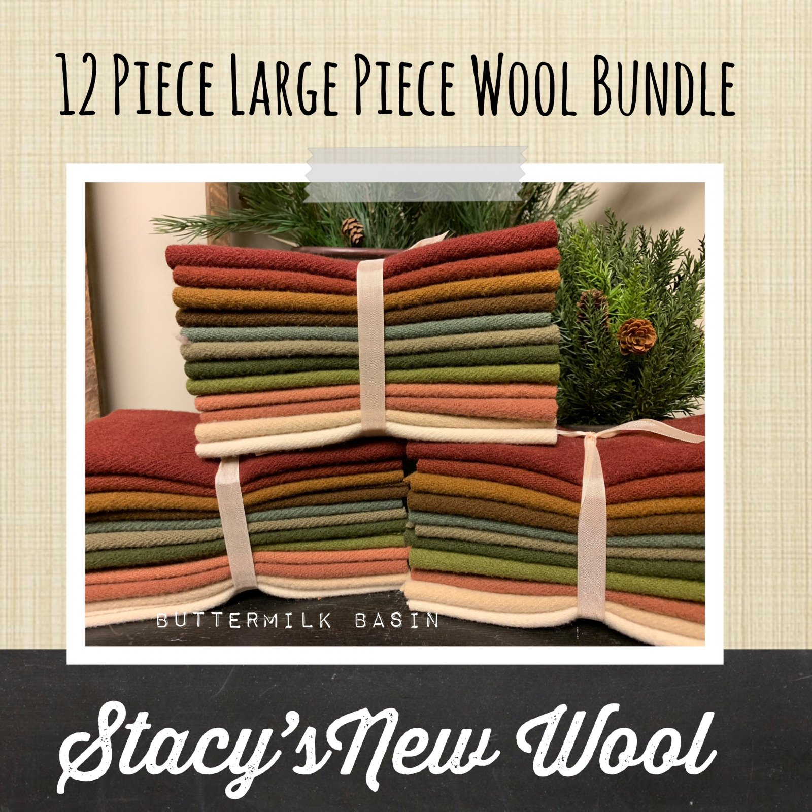 Stacy's New Wool * 12 Piece Bundle - 8 x 13 Pieces