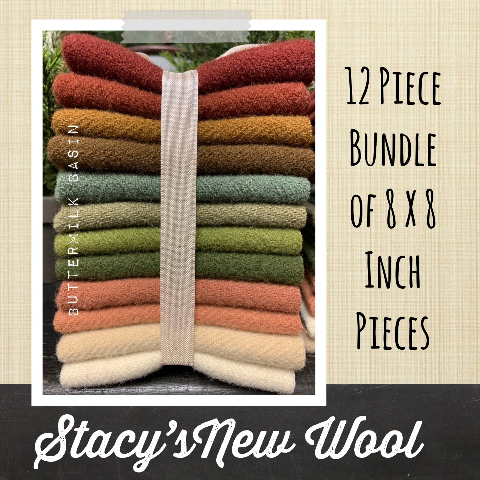 Stacy's Wool * 12 Piece Bundle - 8 x 8 Pieces
