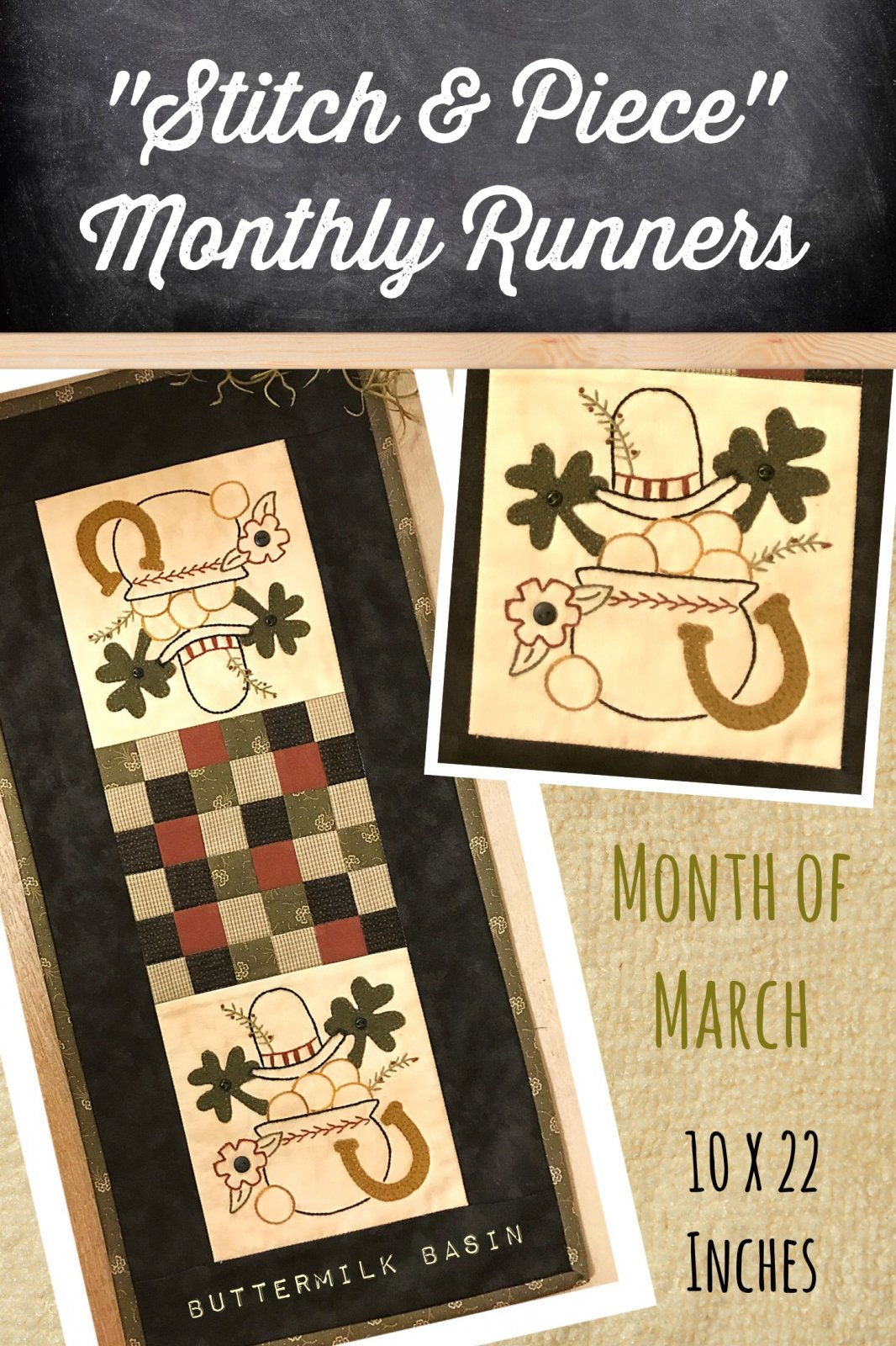March Stitch & Piece Monthly Runner Kit and Pattern