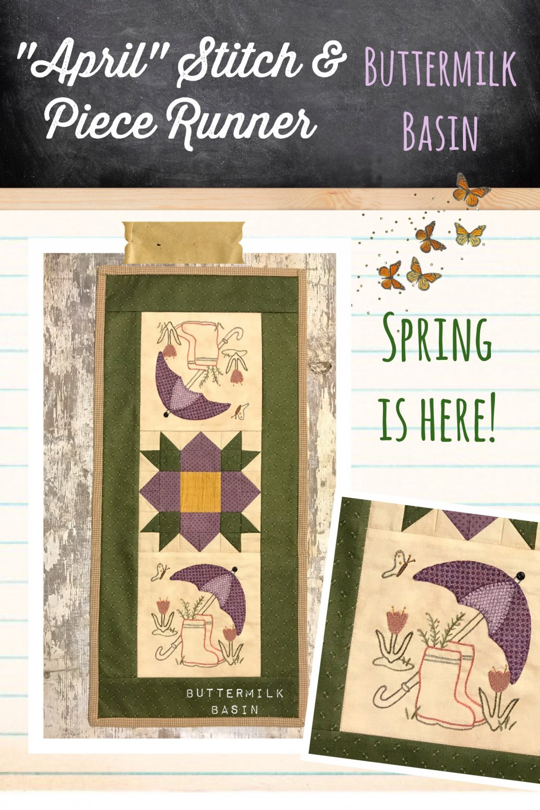 April Stitch & Piece Monthly Runner Kit and Pattern