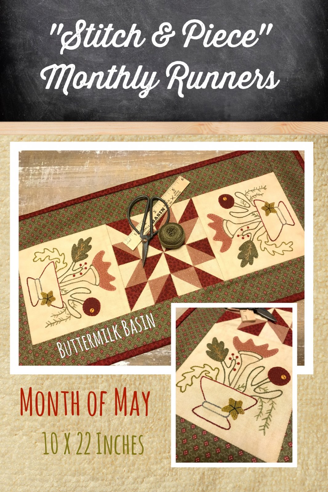 May Stitch & Piece Monthly Runner Kit and Pattern