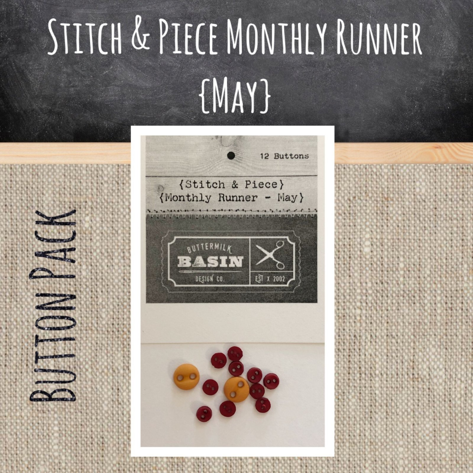 May Button Pack for Stitch & Piece Monthly Runner