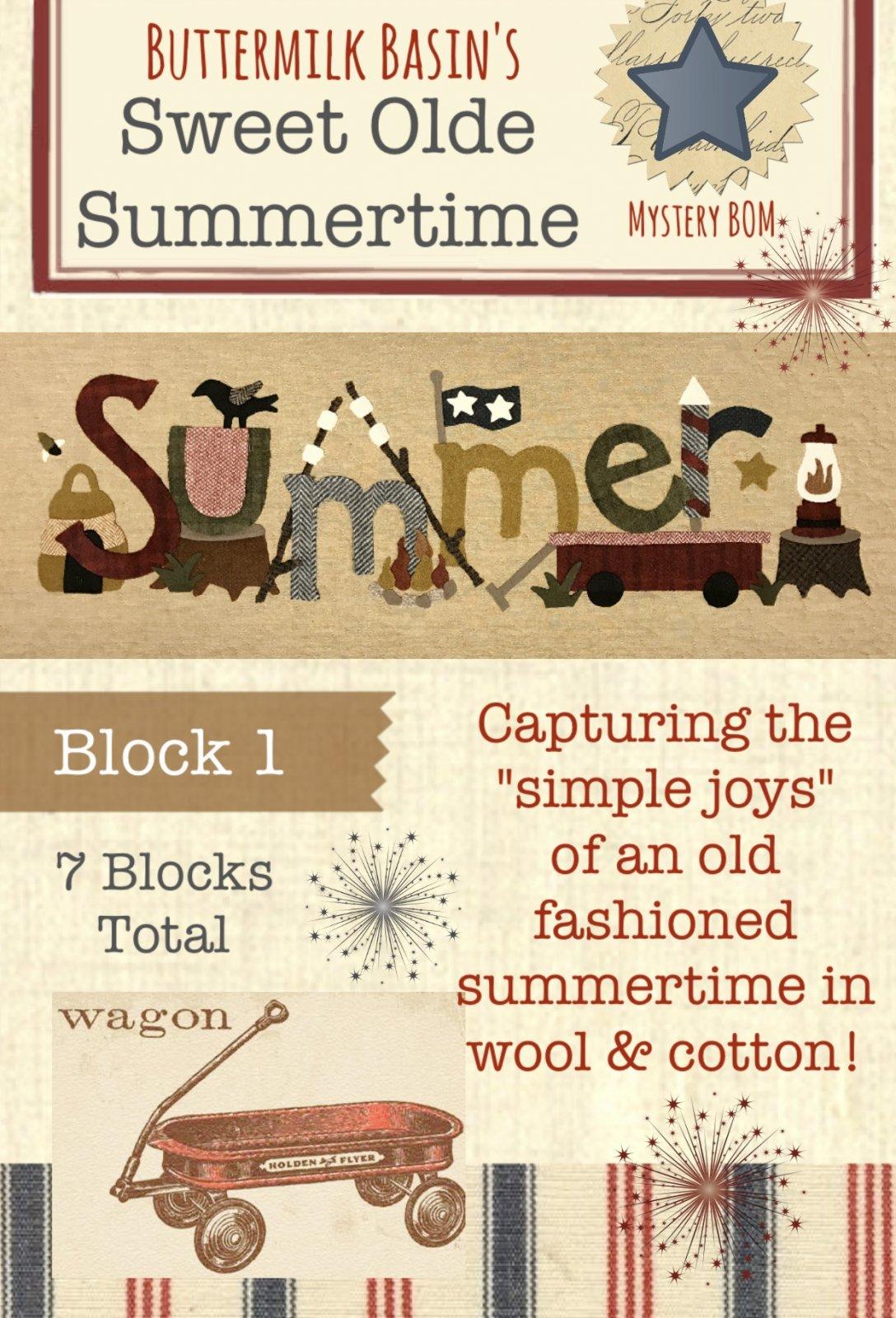 Sweet Olde Summertime Mystery BOM Block 1 KIT & Full Color Pattern