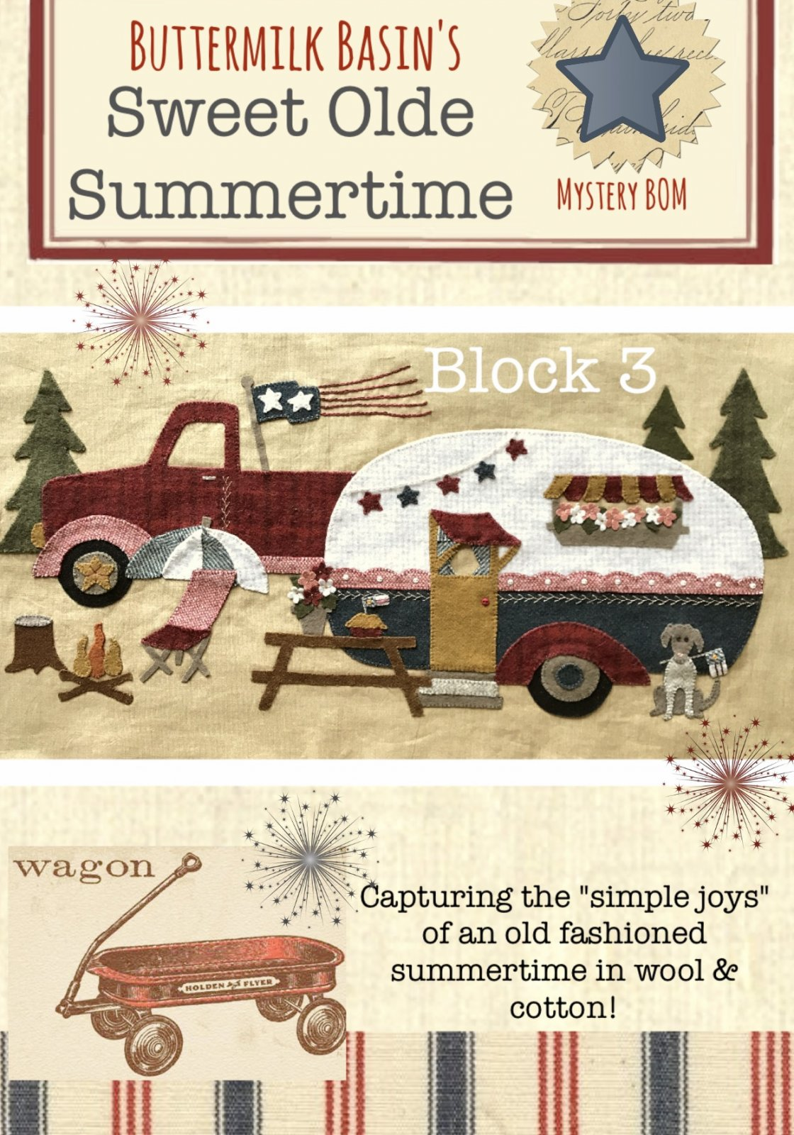 Sweet Olde Summertime Mystery Block 4 KIT & Full Color Pattern
