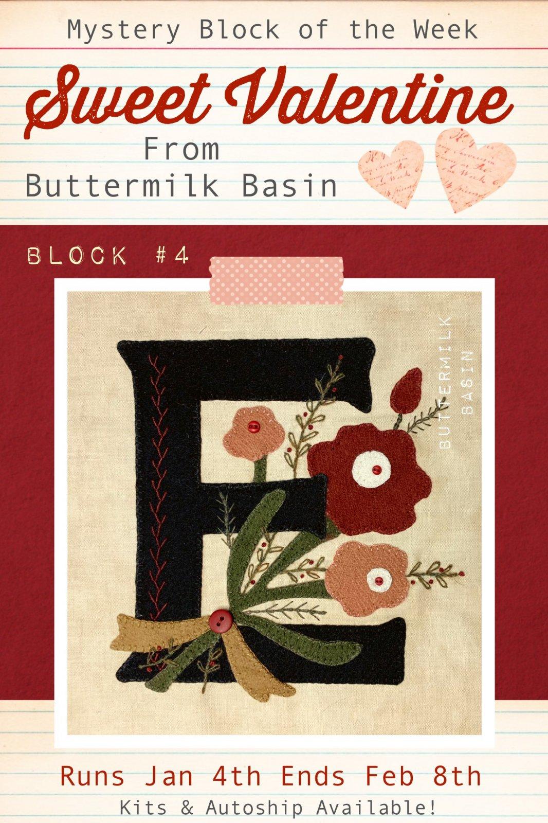 Sweet Valentine Quilt Block of the Week * Block 4 Pattern & Kit