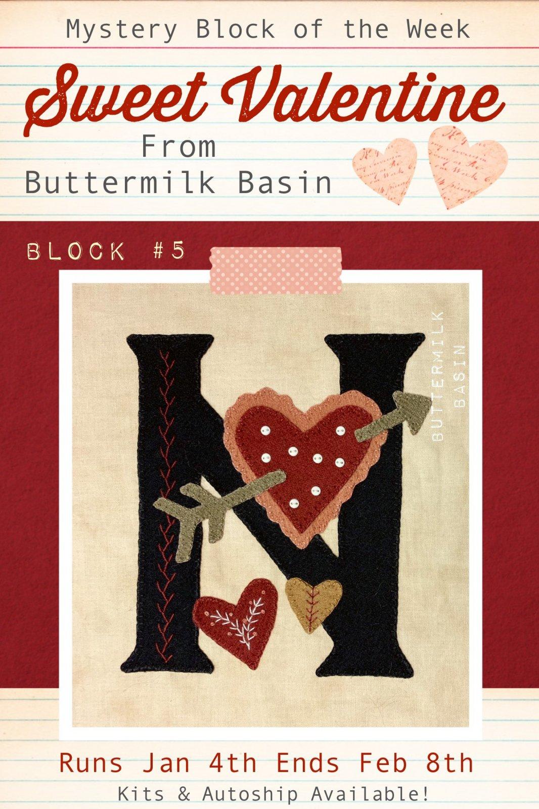 Sweet Valentine Quilt Block of the Week * Block 5 Pattern & Kit