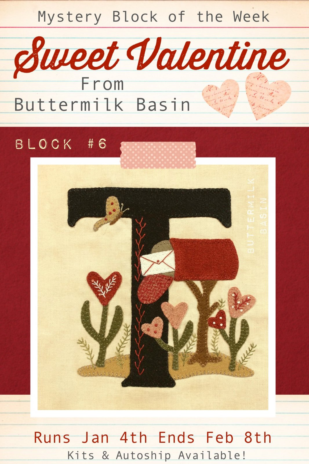 Sweet Valentine Quilt Block of the Week * Block 6 Pattern & Kit