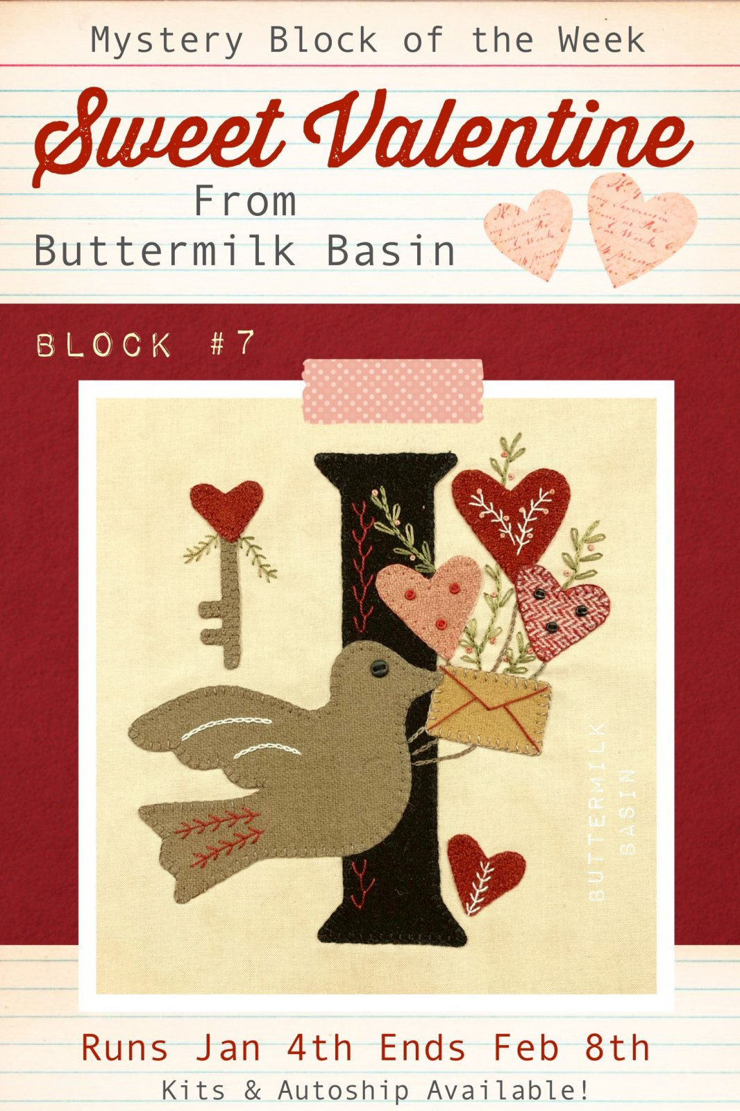 Sweet Valentine Quilt Block of the Week * Block 7 Pattern & Kit