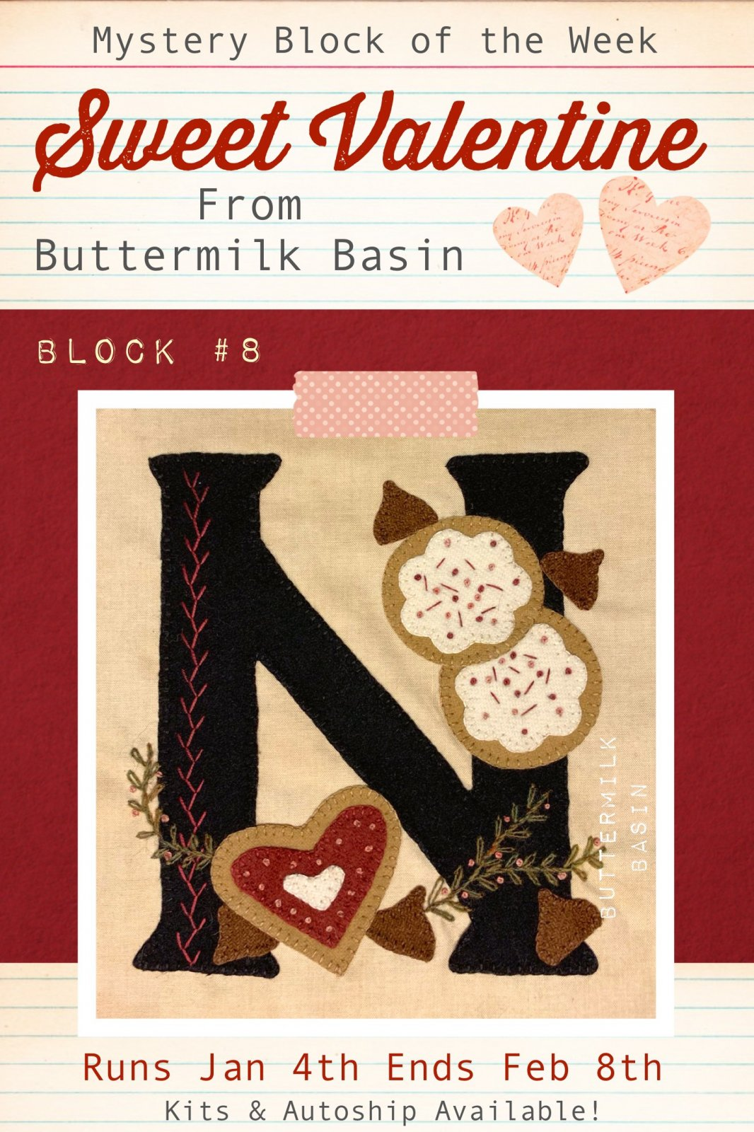 Sweet Valentine Quilt Block of the Week * Block 8 Pattern & Kit