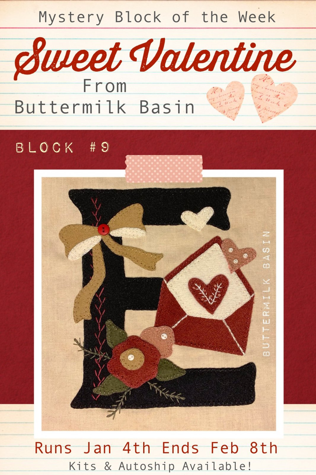 Sweet Valentine Quilt Block of the Week * Block 9 Pattern & Kit