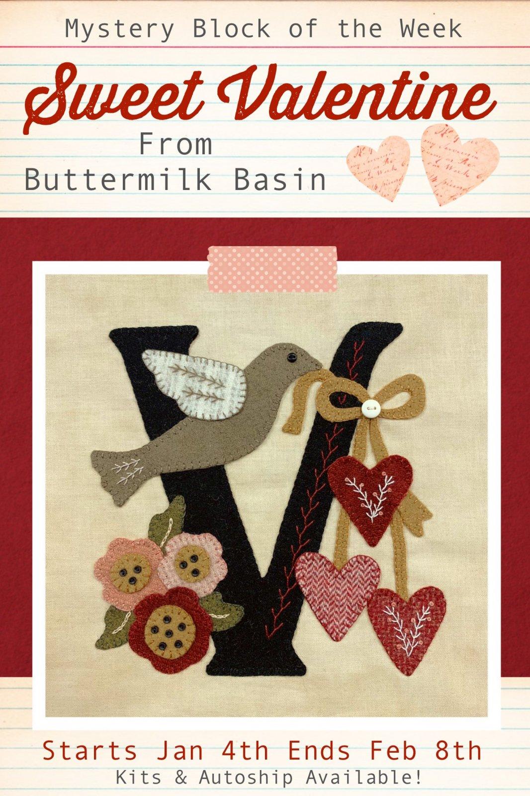 Sweet Valentine Quilt Block of the Week * Block #1 Pattern & Kit