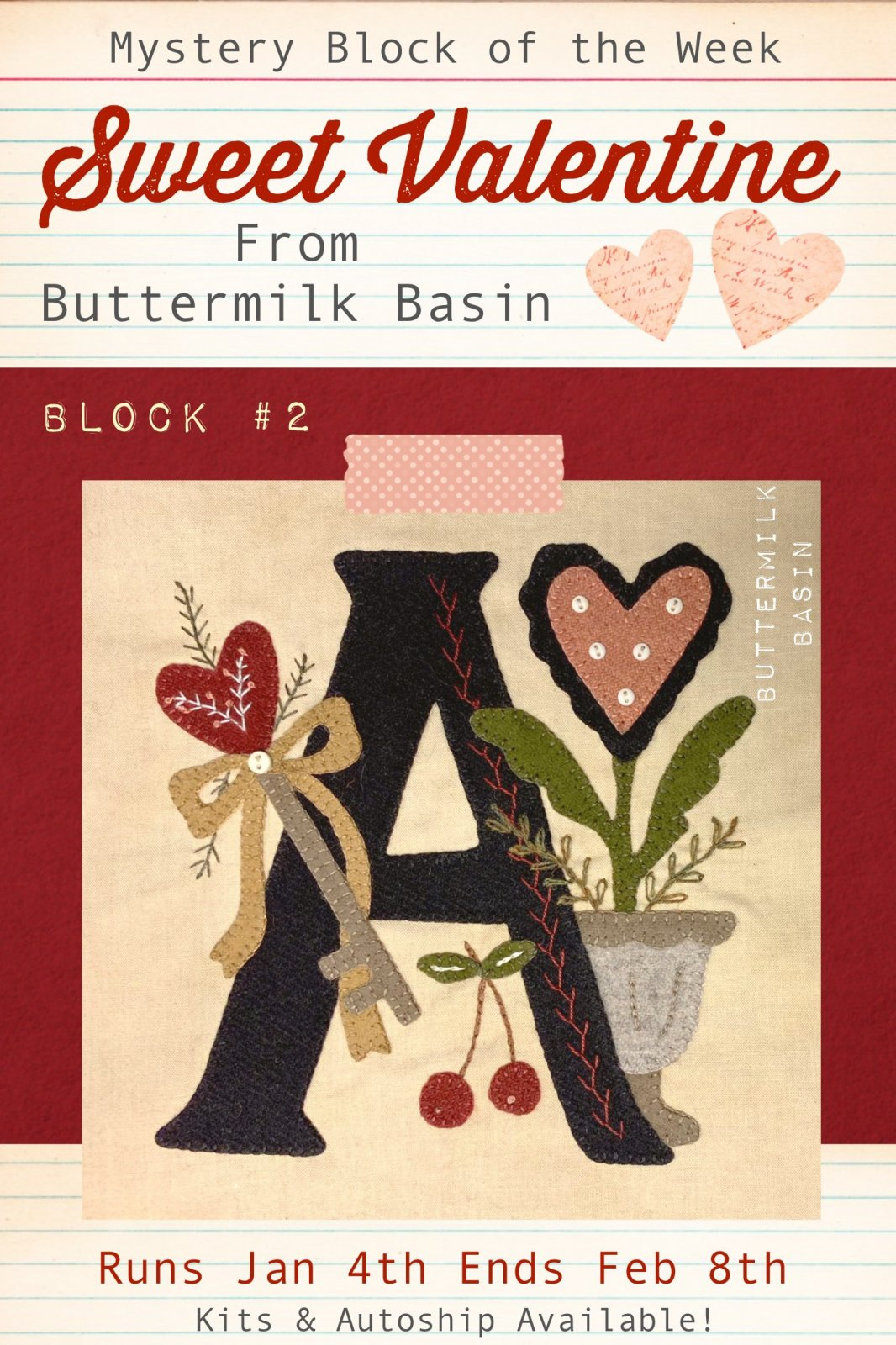 Sweet Valentine Quilt Block of the Week * Block #2 Pattern & Kit