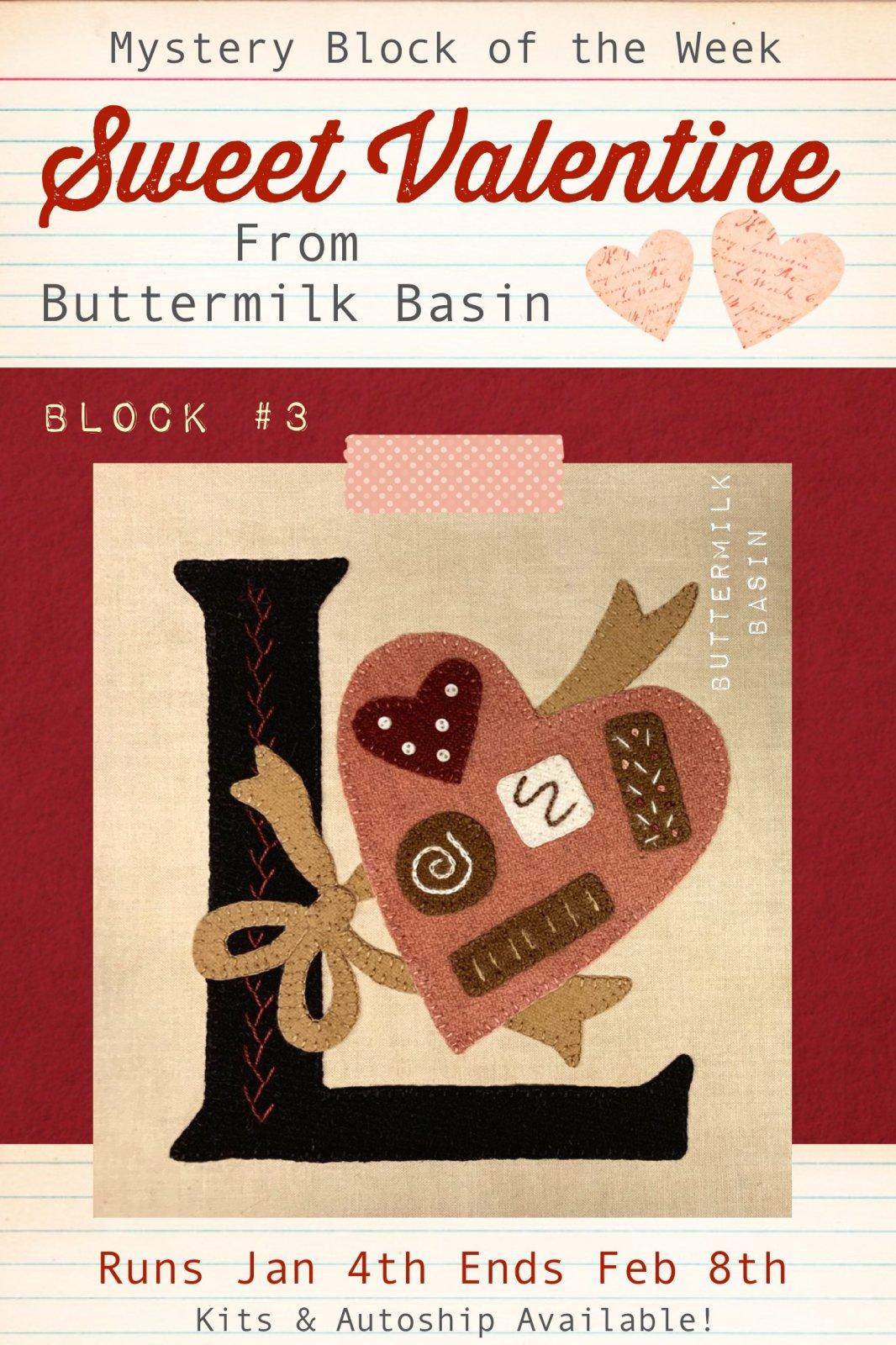 Sweet Valentine Quilt Block of the Week * Block #3 Pattern & Kit