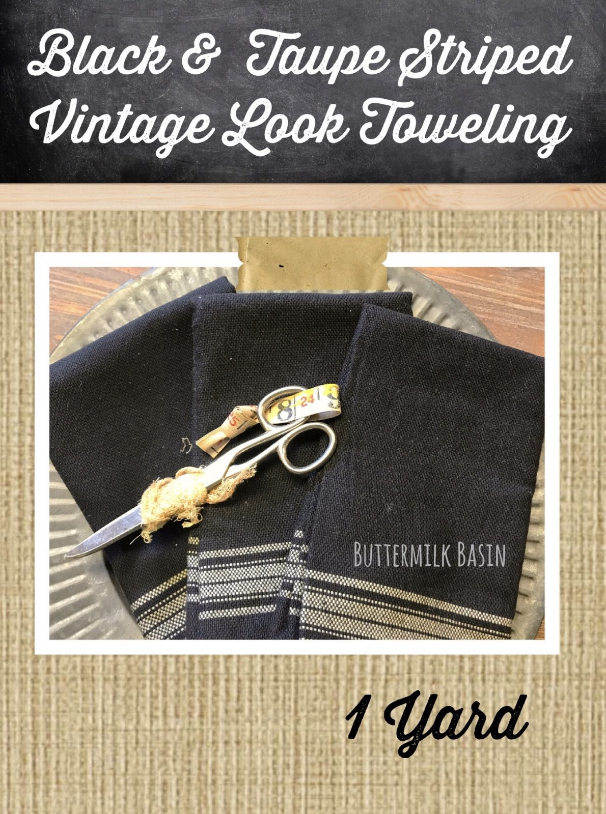 Black & Taupe Striped Vintage Look Toweling