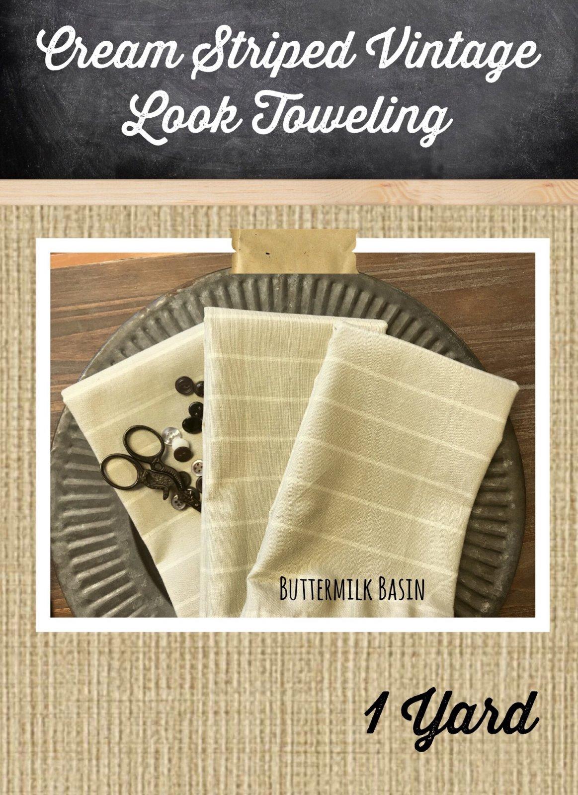 Cream Striped Vintage Look Toweling