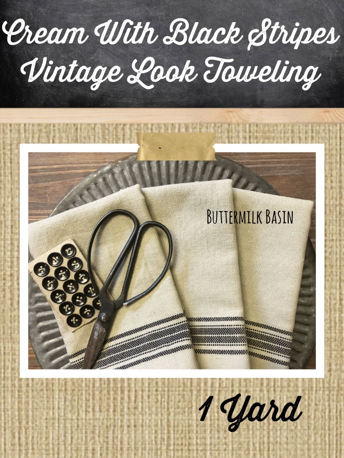 Cream with Black Stripes Vintage Look Toweling