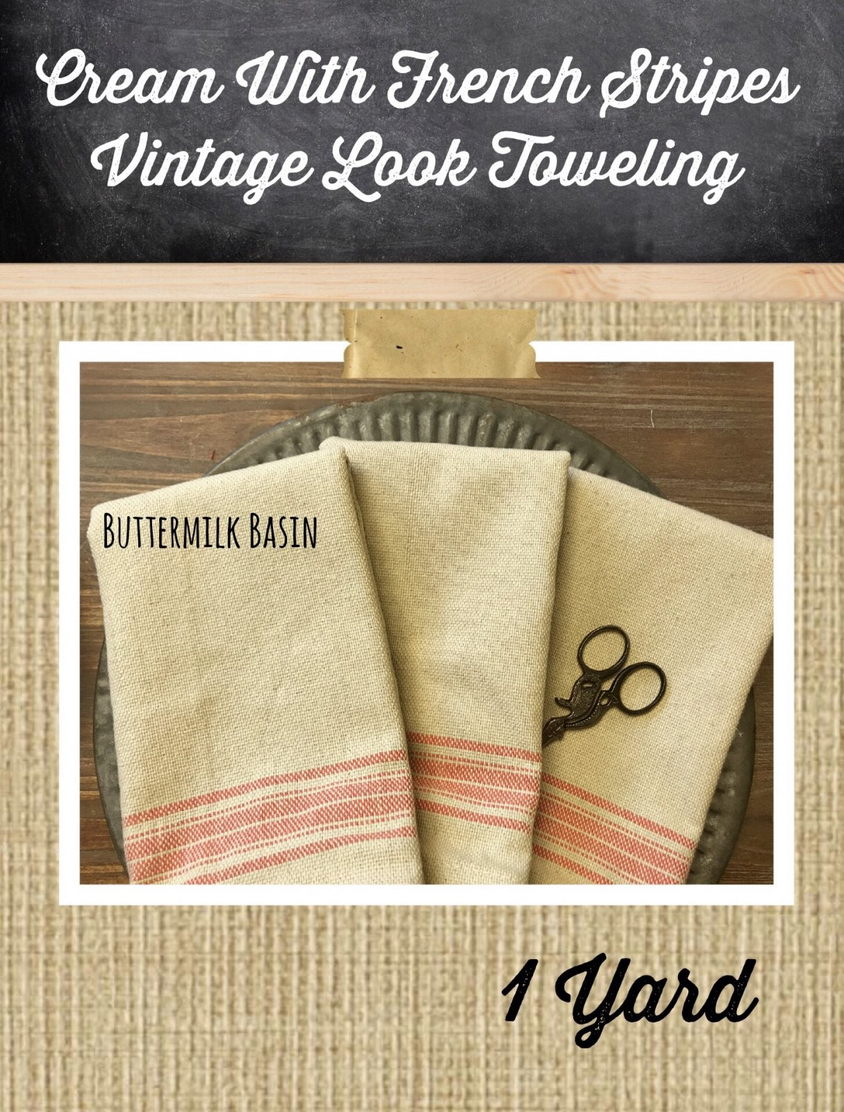 Cream with Red French Stripes Vintage Look Toweling