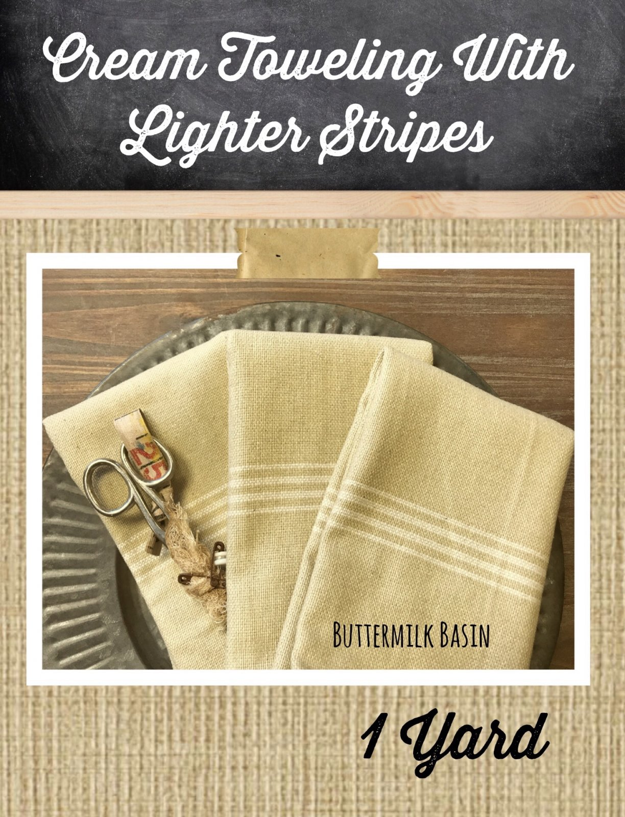 Cream Toweling with Lighter Stripes