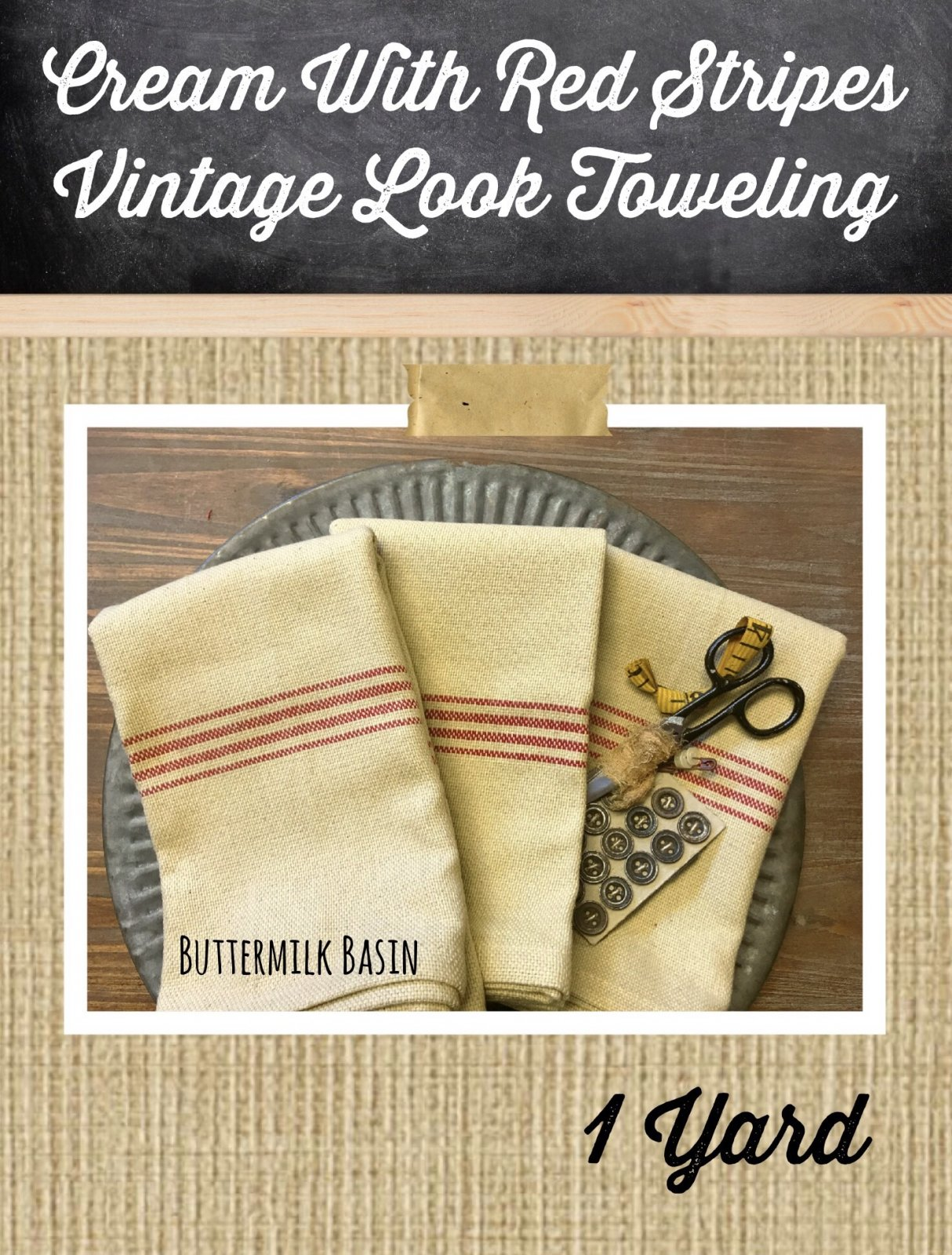 Cream with Red Stripes Vintage Look Toweling