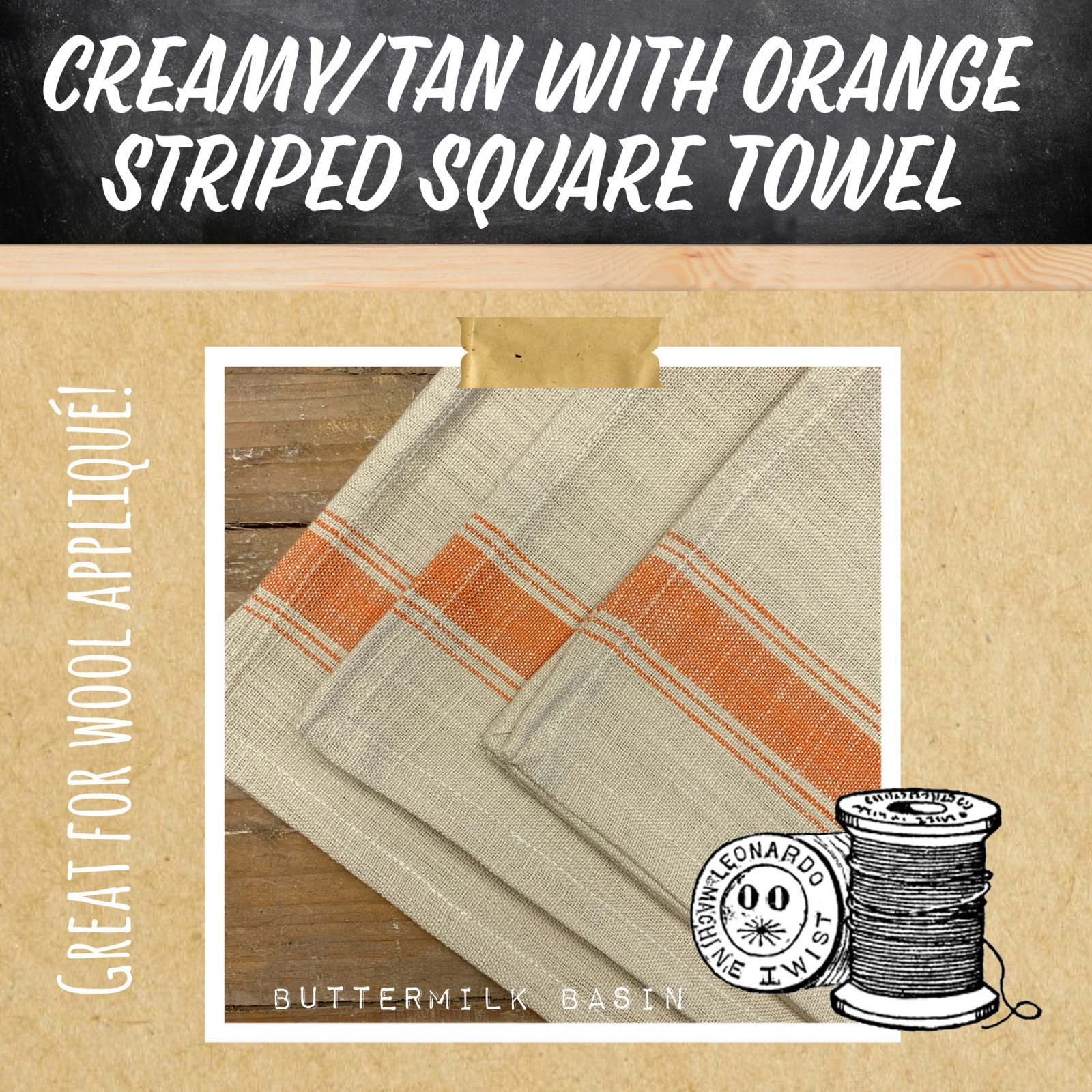 Creamy Tan with Orange Striped Square Toweling