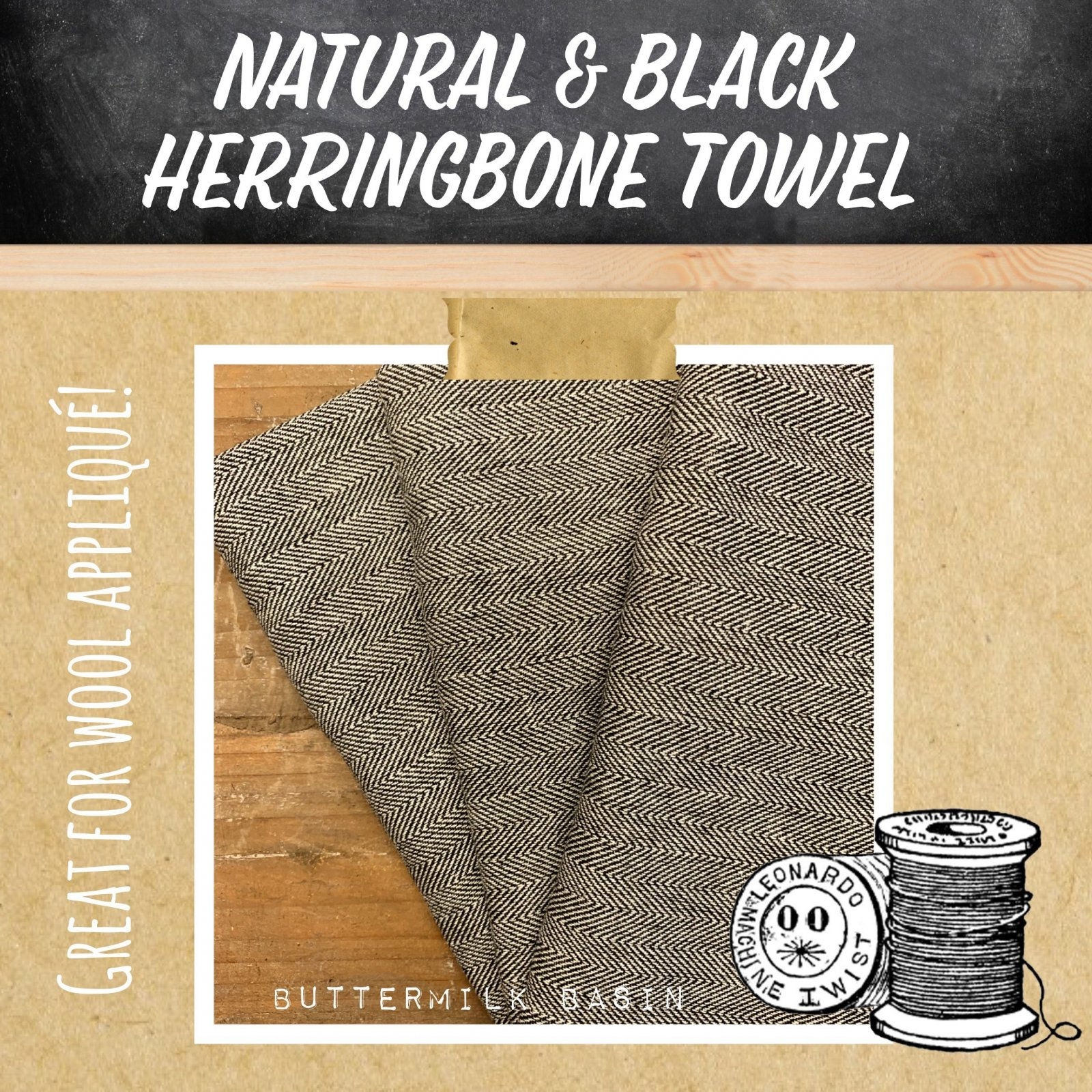 Natural & Black Herringbone Towel