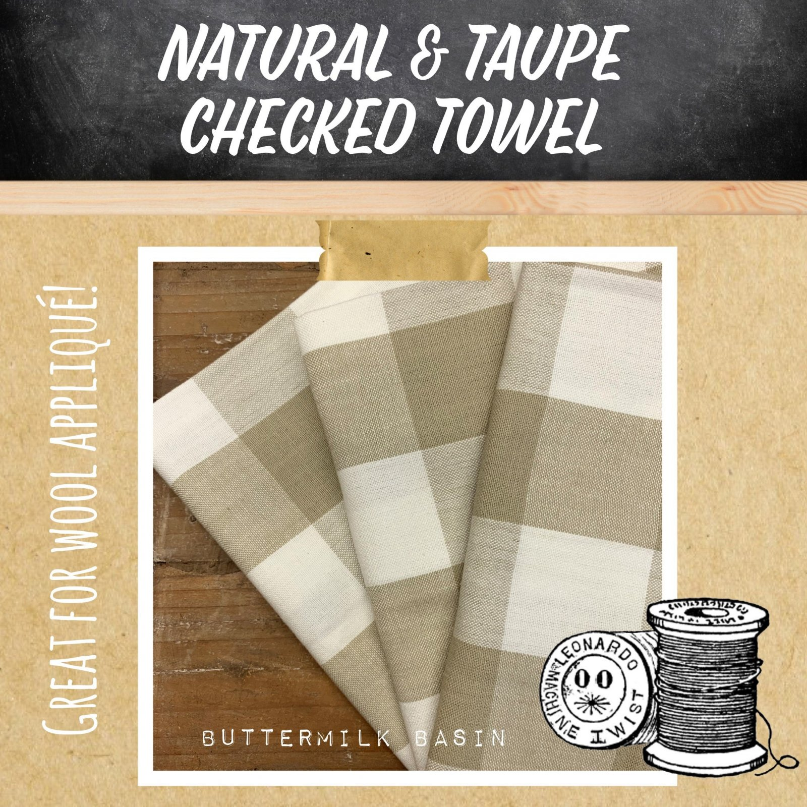 Natural & Taupe Checked Towel