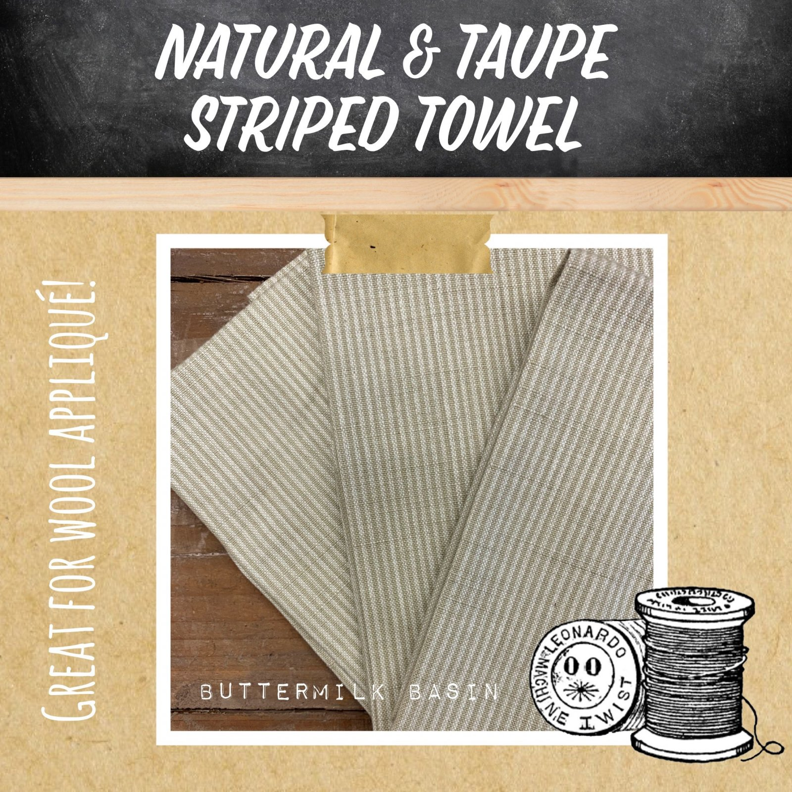 Natural & Taupe Striped Towel