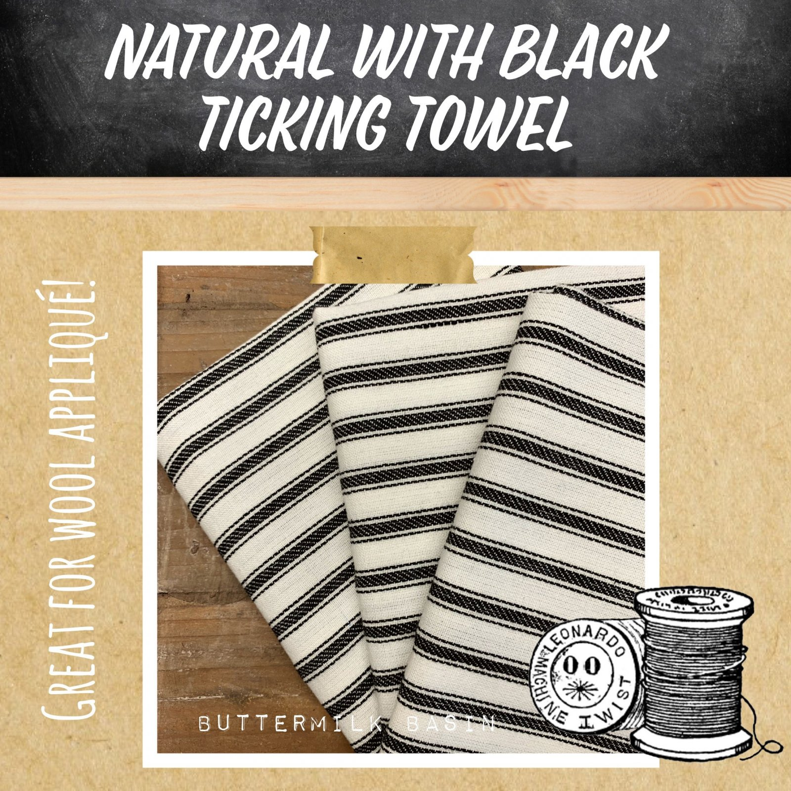 Natural with Black Ticking Towel