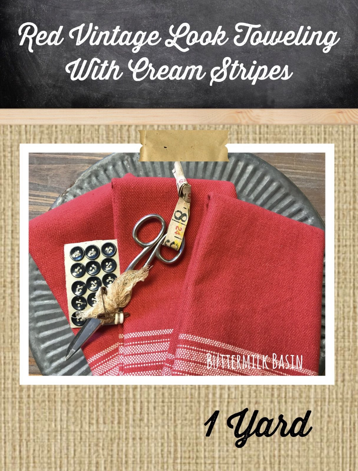 Red Vintage Look Toweling with Cream Stripes