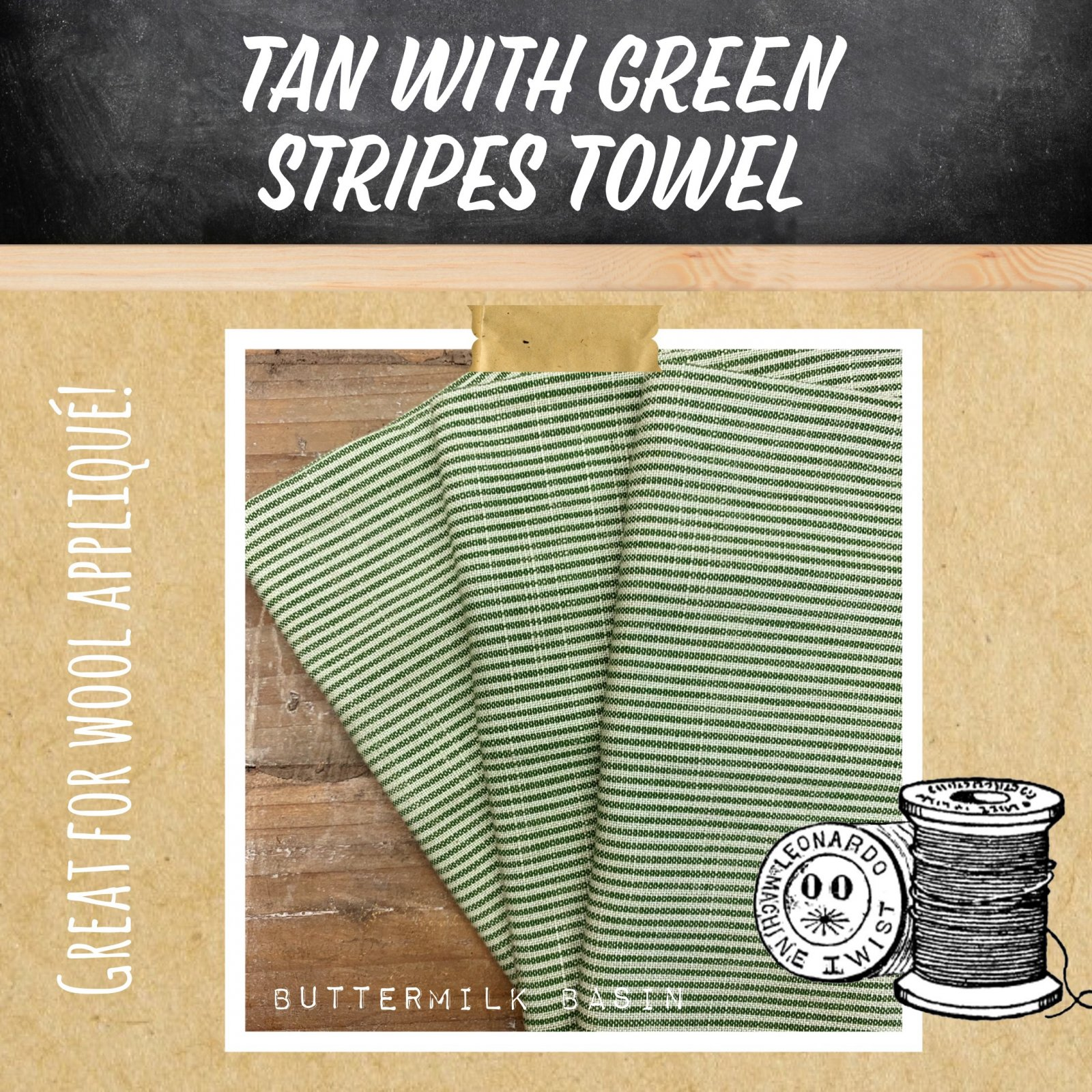 Tan with Green Stripes Towel
