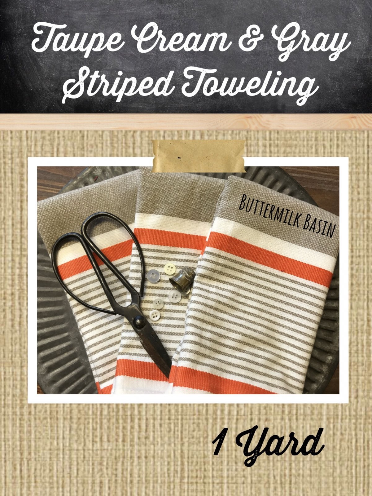 Taupe, Cream, and Gray Striped Toweling