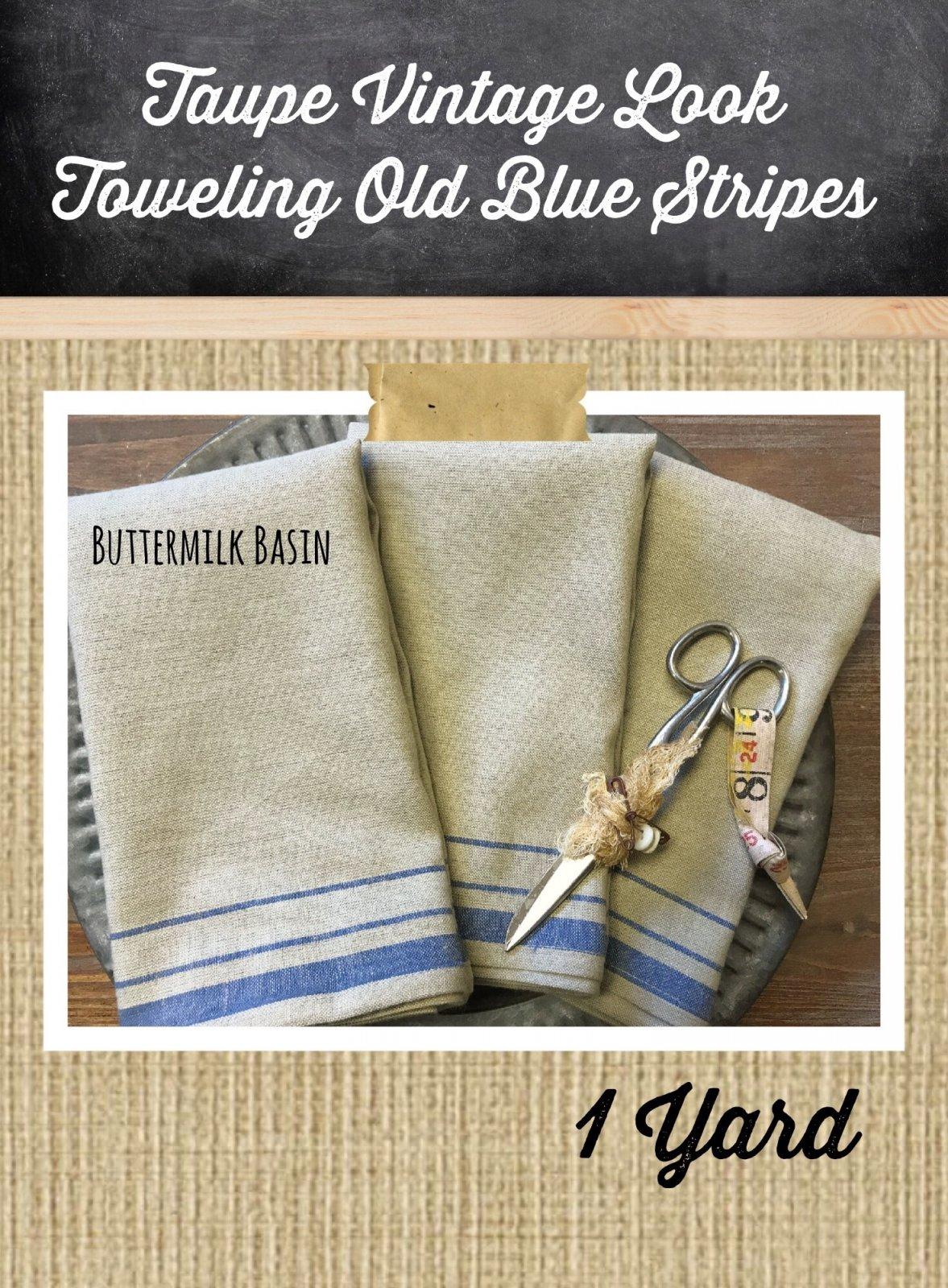 Taupe Vintage Look Toweling Old Blue Stripes