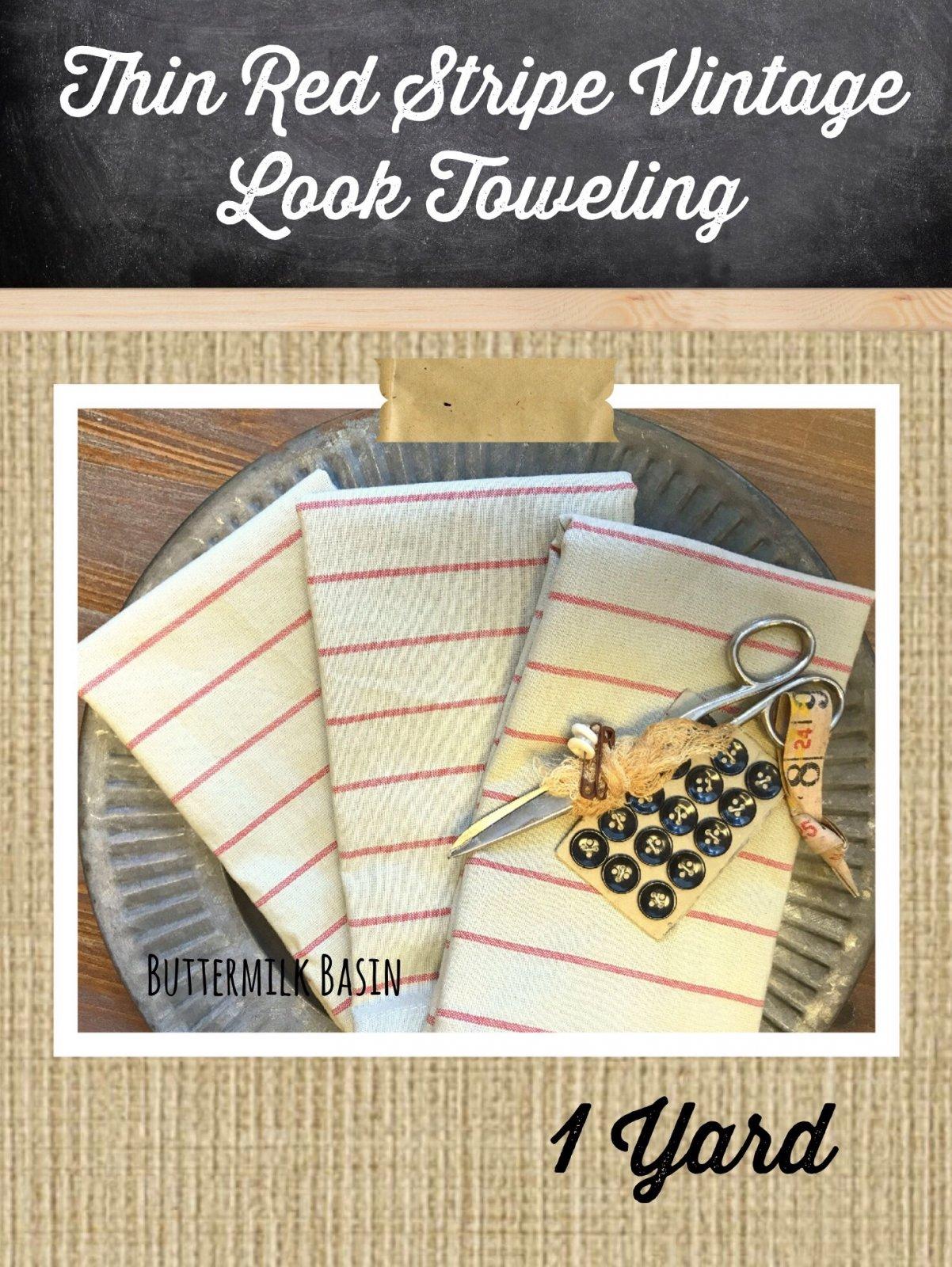 Thin Red Stripe Vintage Look Toweling