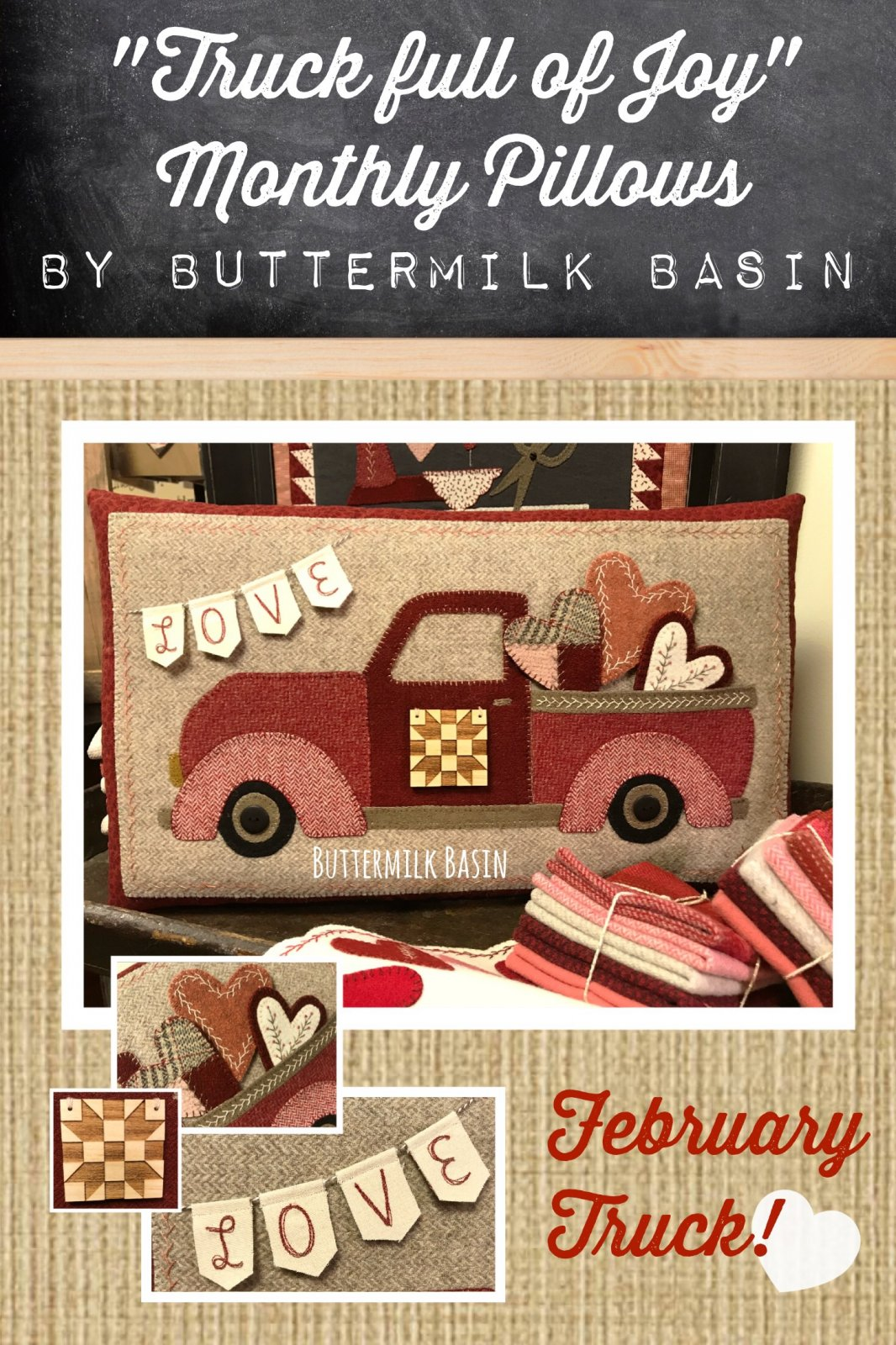 Trucks Full of Joy Monthly Pillows * February KIT & Pattern