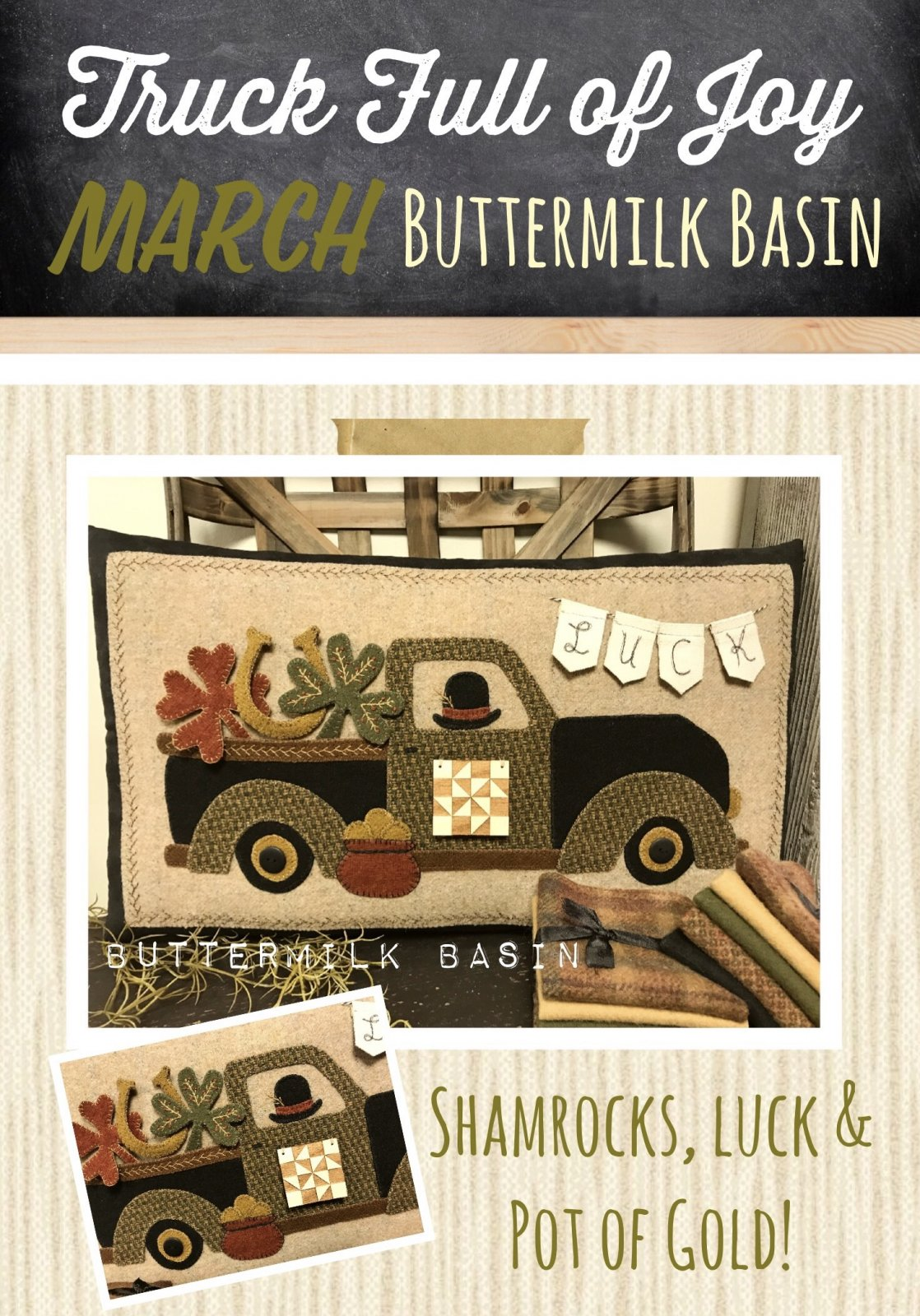 Trucks Full of Joy Monthly Pillows * March Pattern