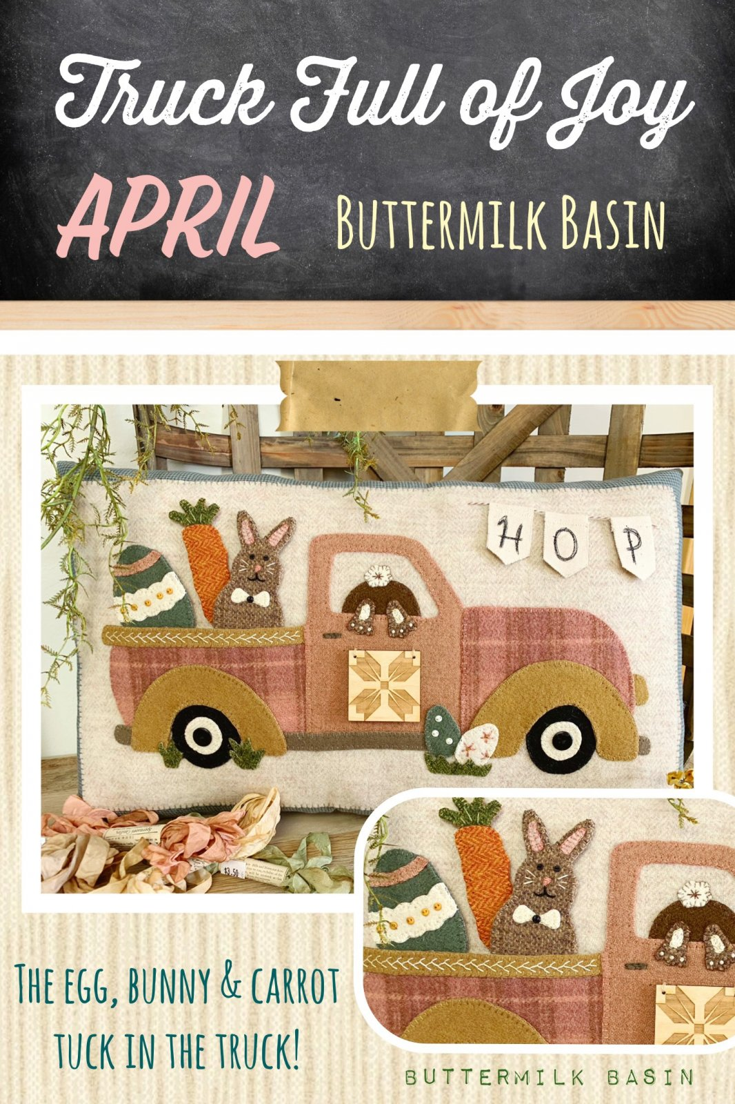 Trucks Full of Joy Monthly Pillows *April Kit & Pattern