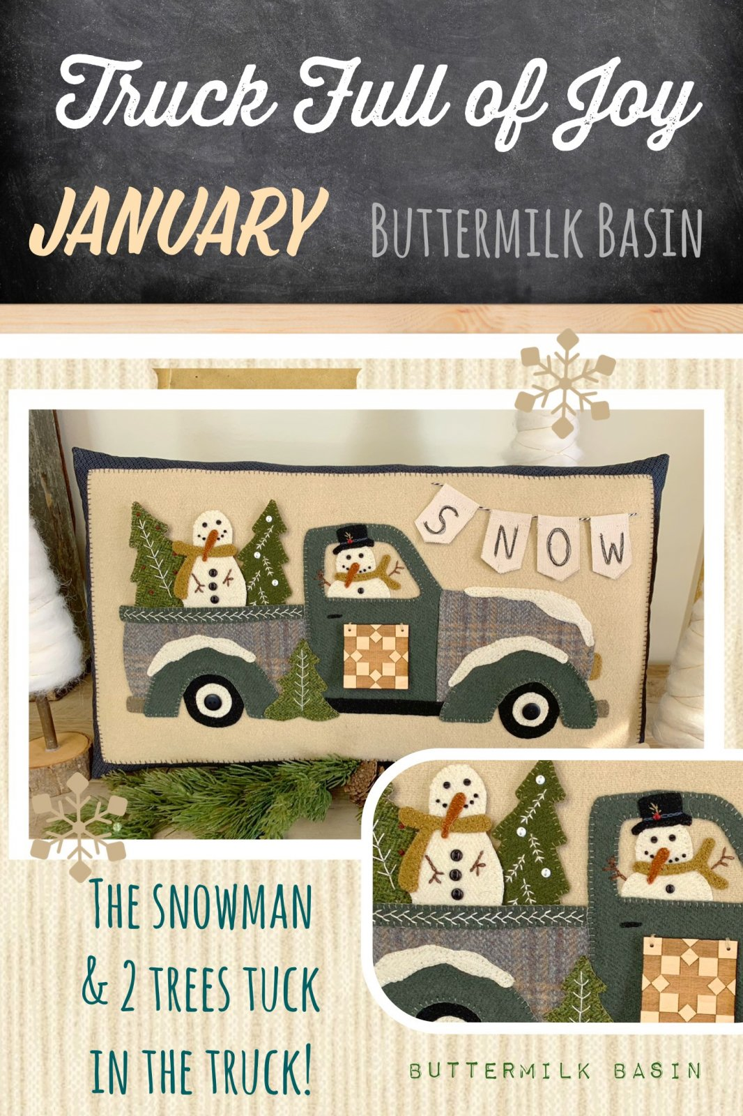 Trucks Full of Joy Monthly Pillows January * Pattern