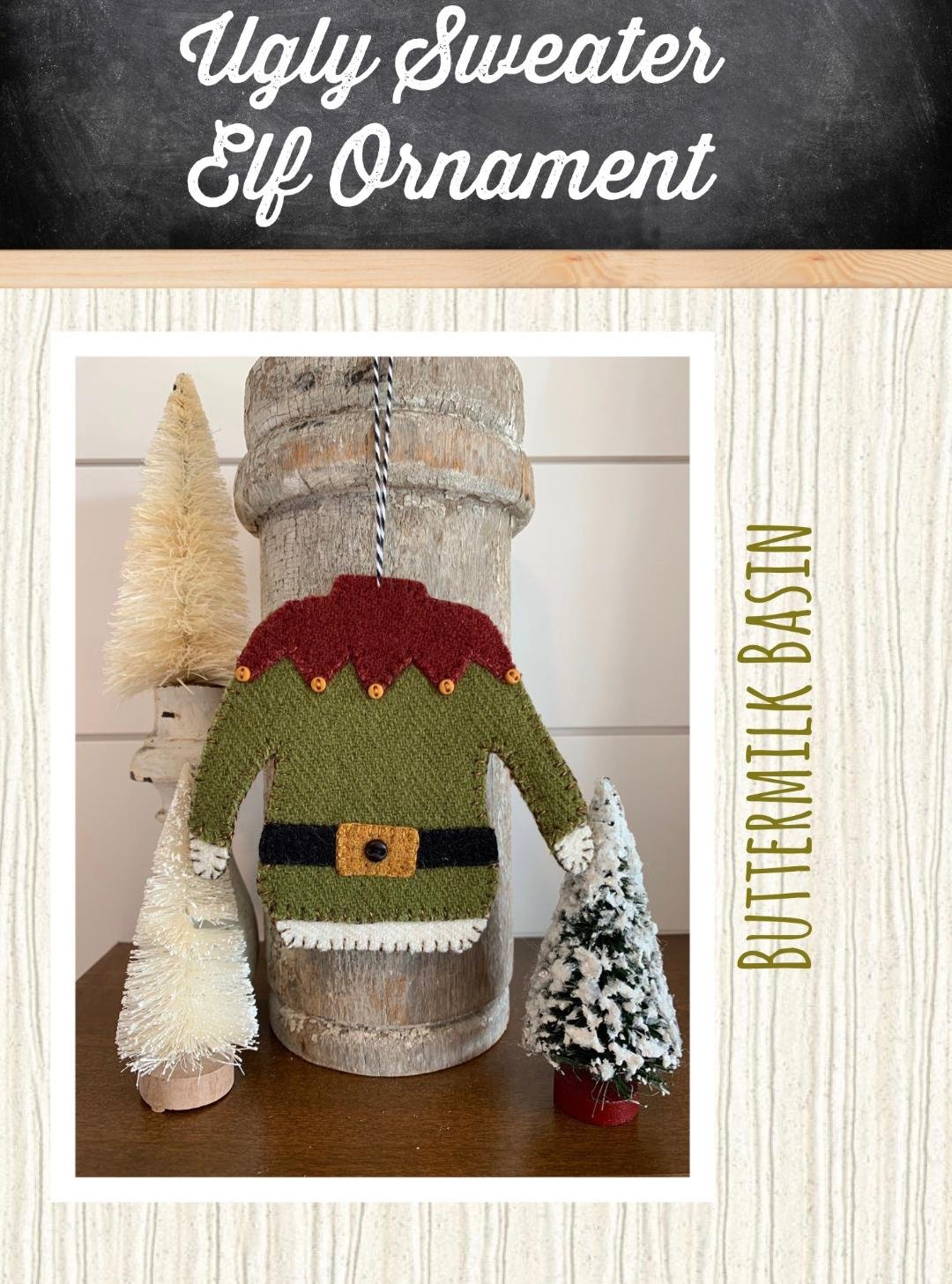Ugly Sweater Elf Ornament * KIT & Pattern