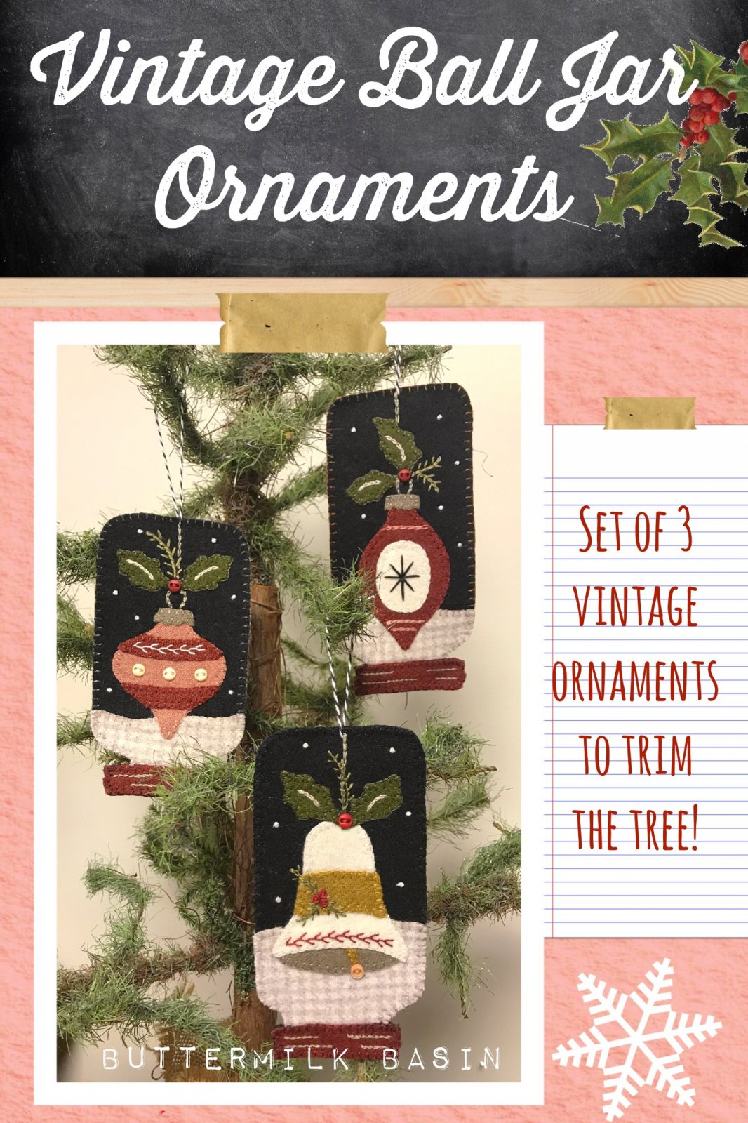 Vintage Ball Jar Ornaments * KIT & Pattern
